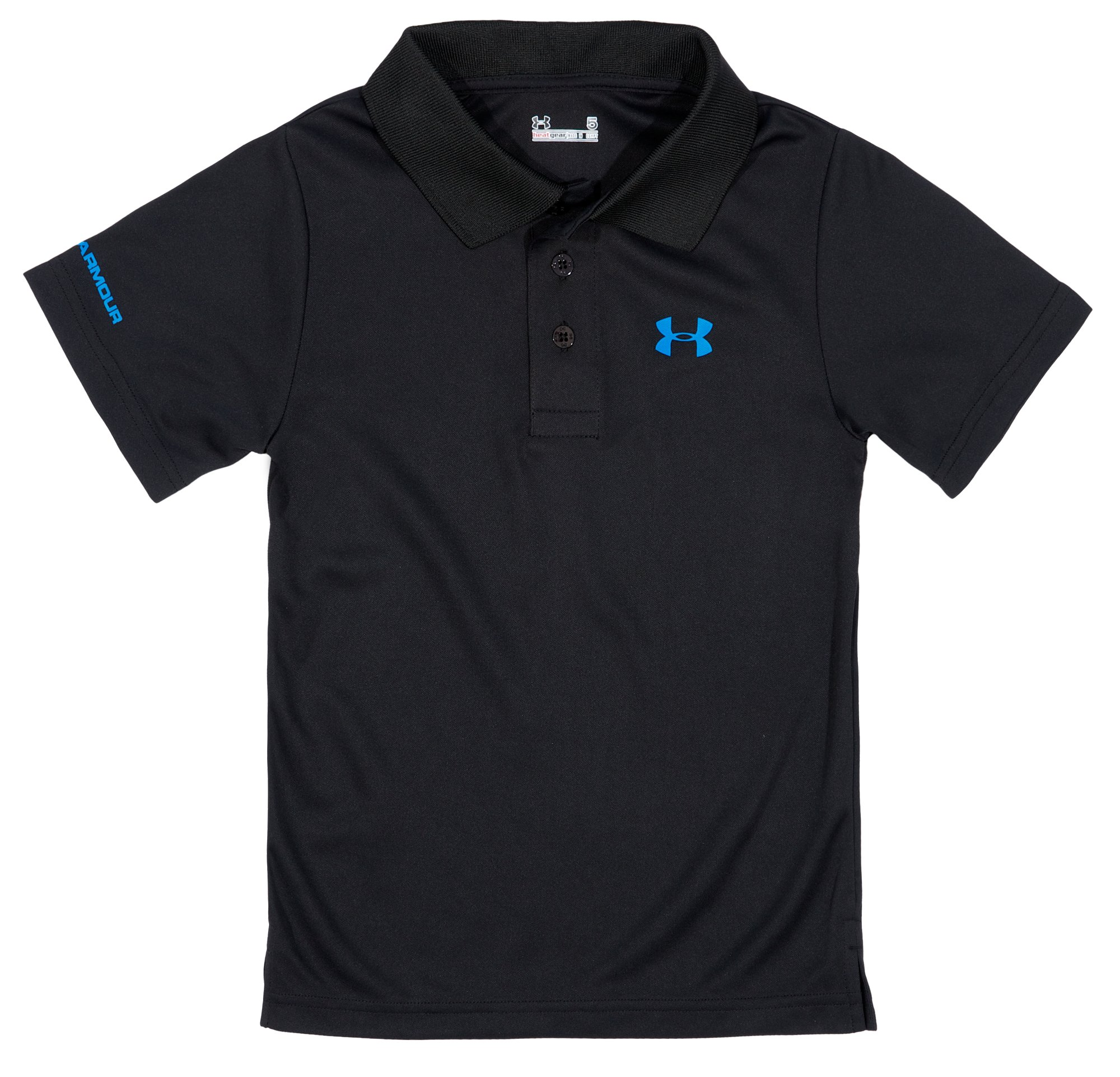 Boys' Toddler UA Performance Polo, Black , Laydown