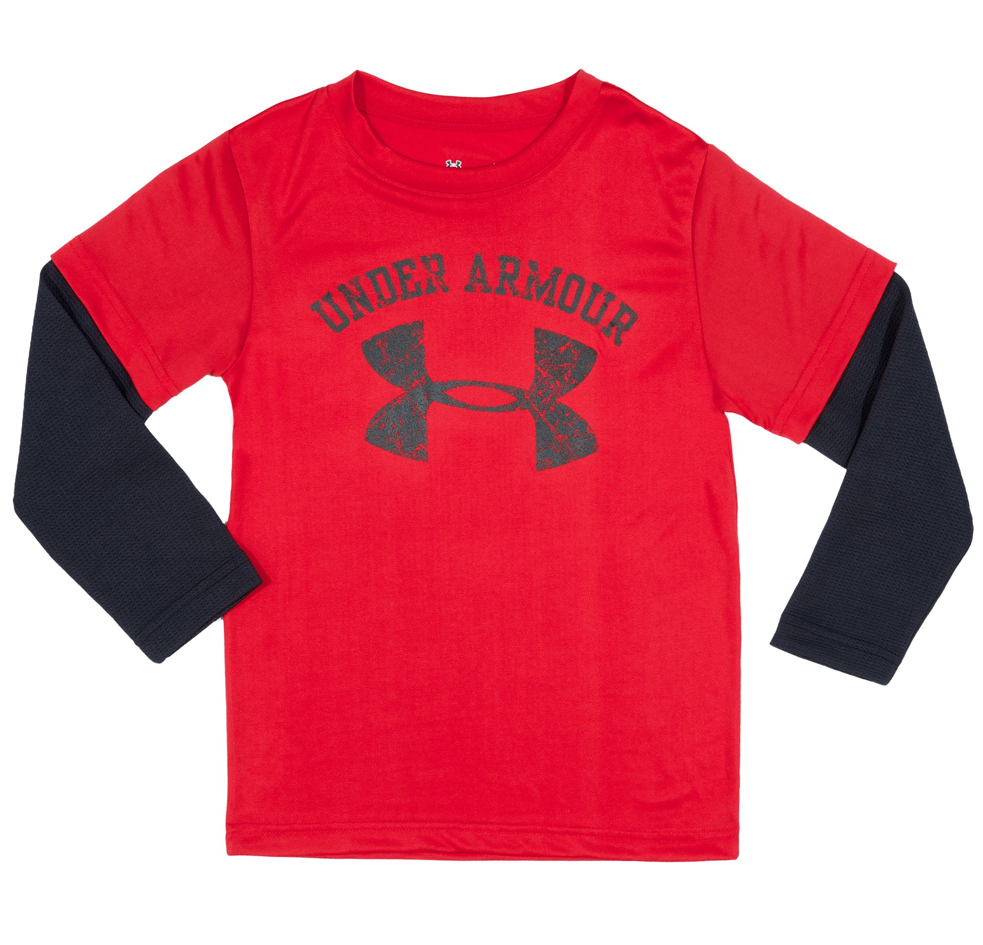 Boys' Toddler UA Distressed Graphic Long Sleeve, Red, Laydown