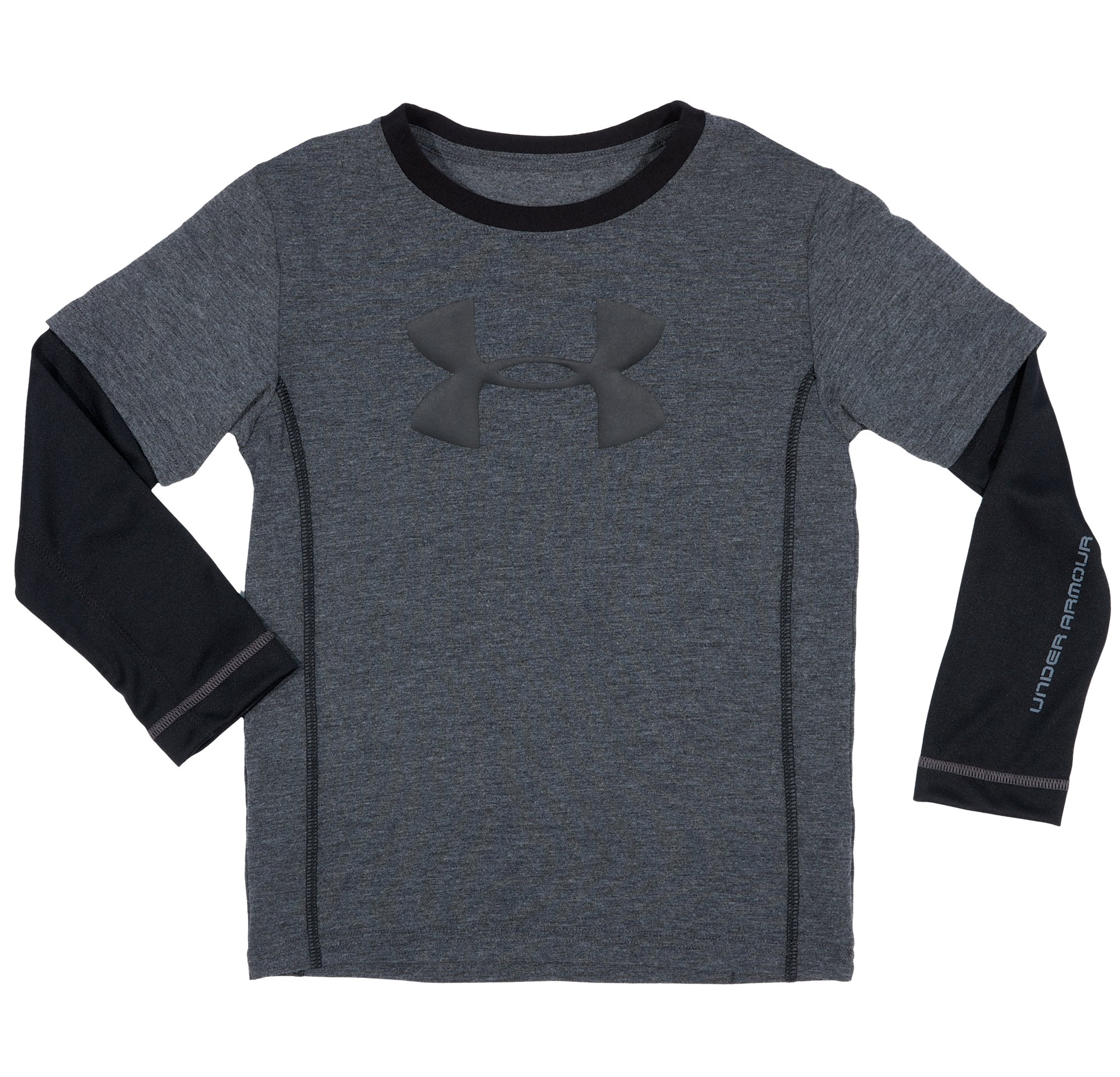 Boys' Toddler UA Big Logo Long Sleeve, Carbon Heather, Laydown