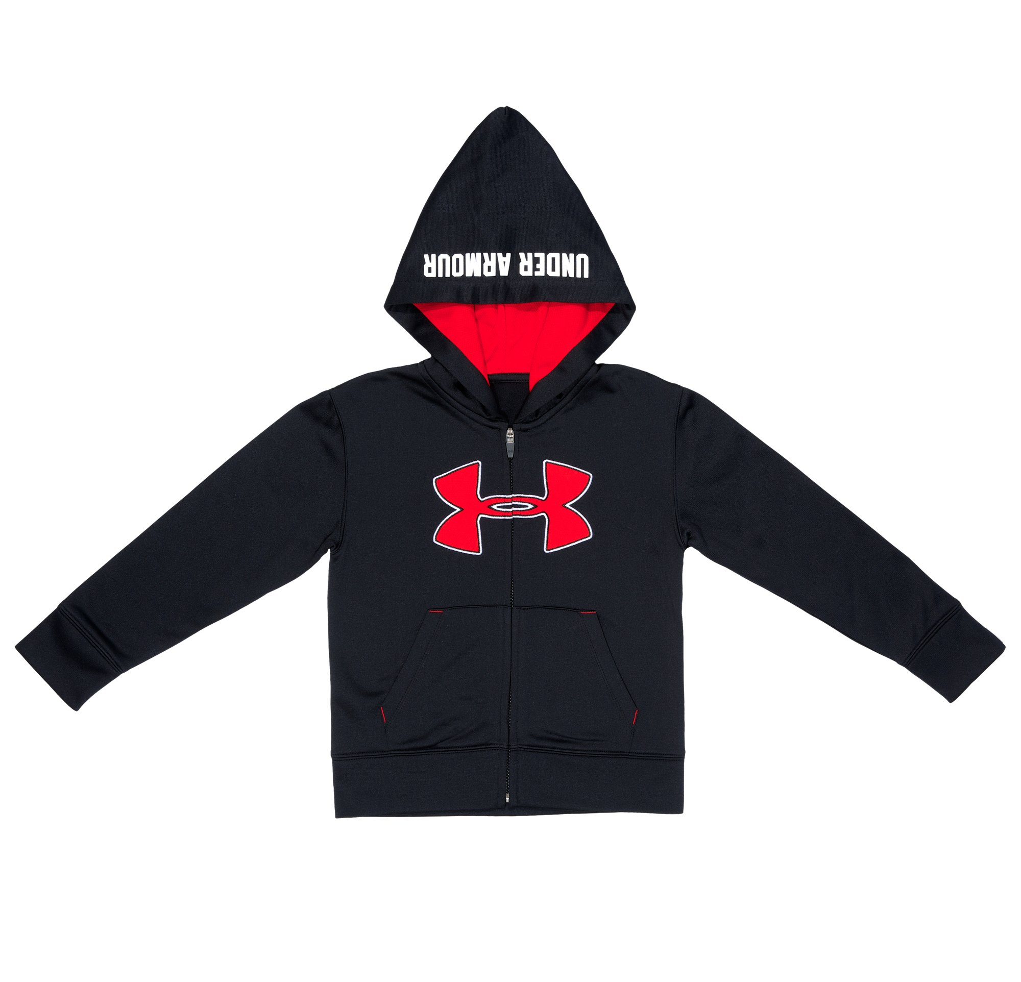 Boys' Toddler UA Mesh Logo Hoodie, Black , Laydown