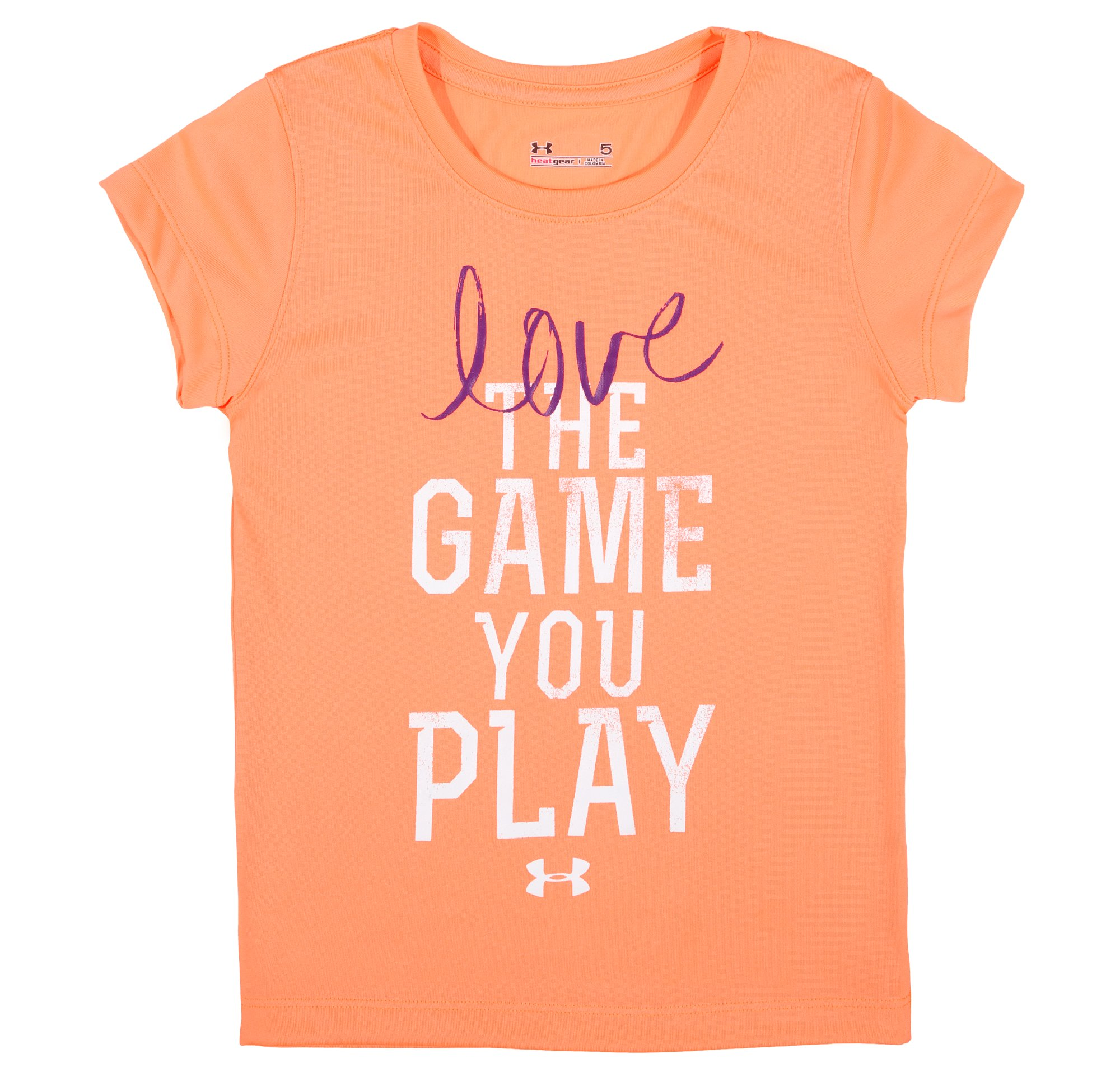Girls' Infant UA Love The Game T-Shirt, ELECTRIC TANGERINE, Laydown