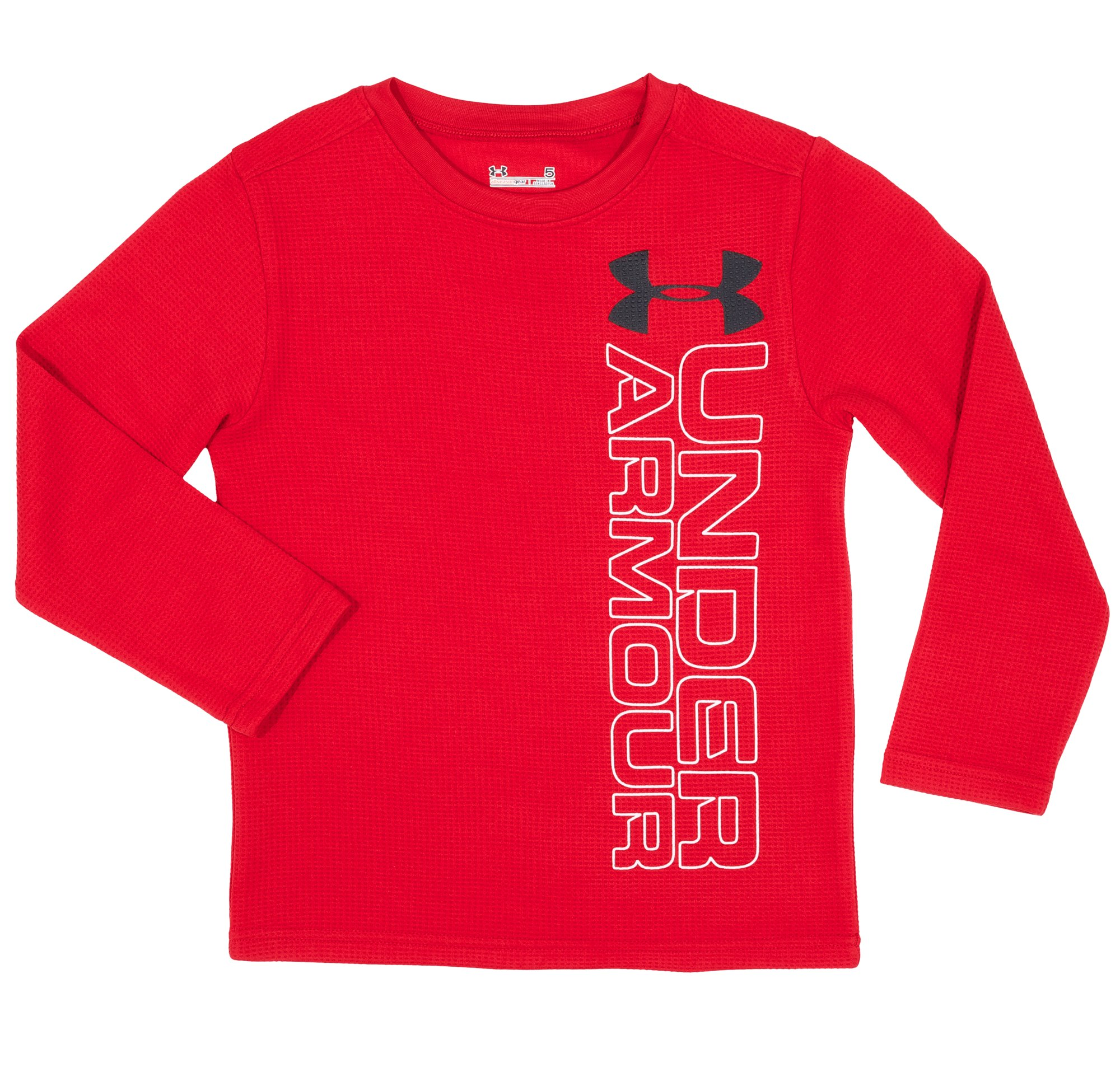 Boys' Infant UA Branded Waffle Crew, Red, Laydown