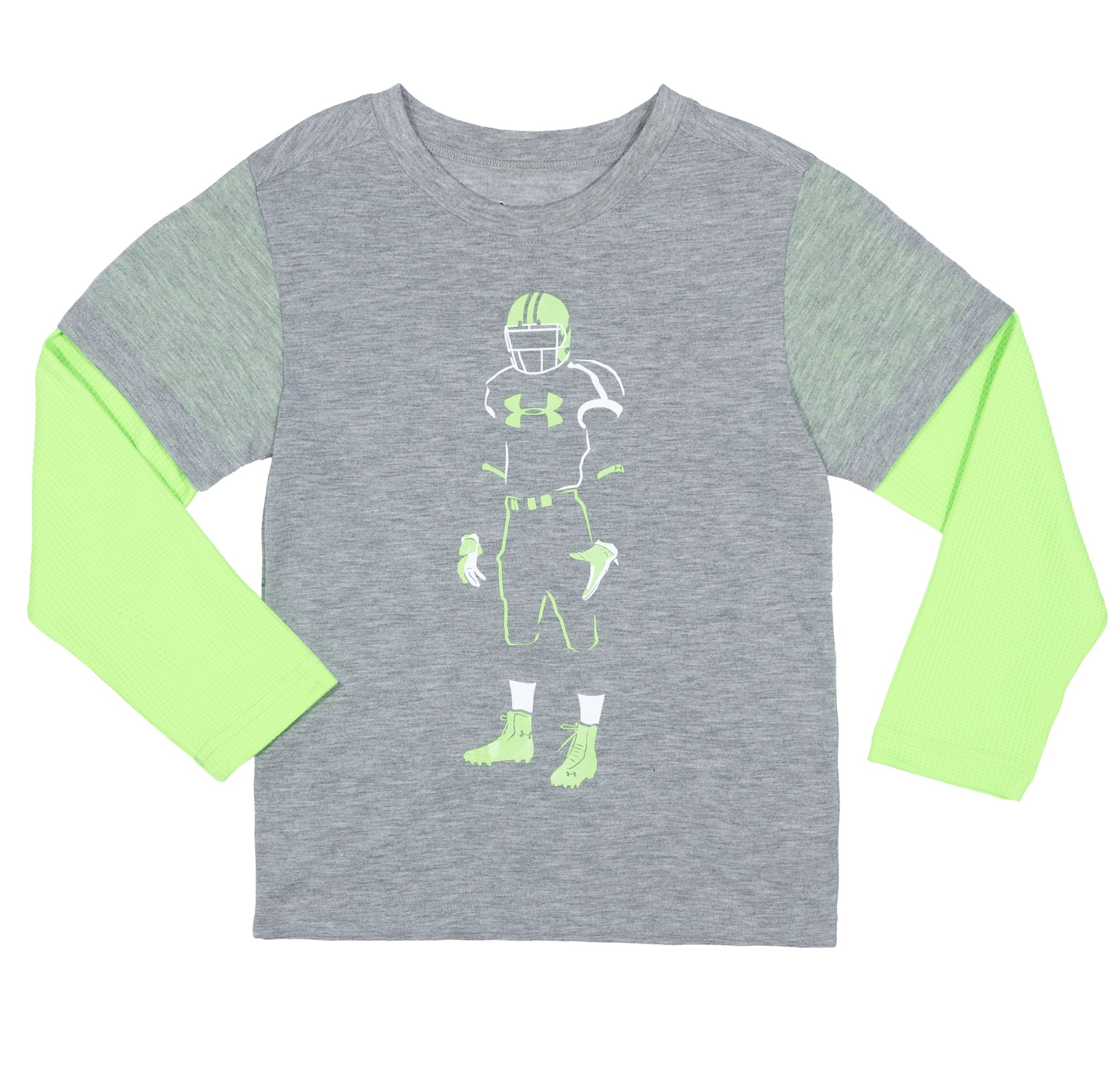 Boys' Infant UA Football Glow Long Sleeve, True Gray Heather, Laydown