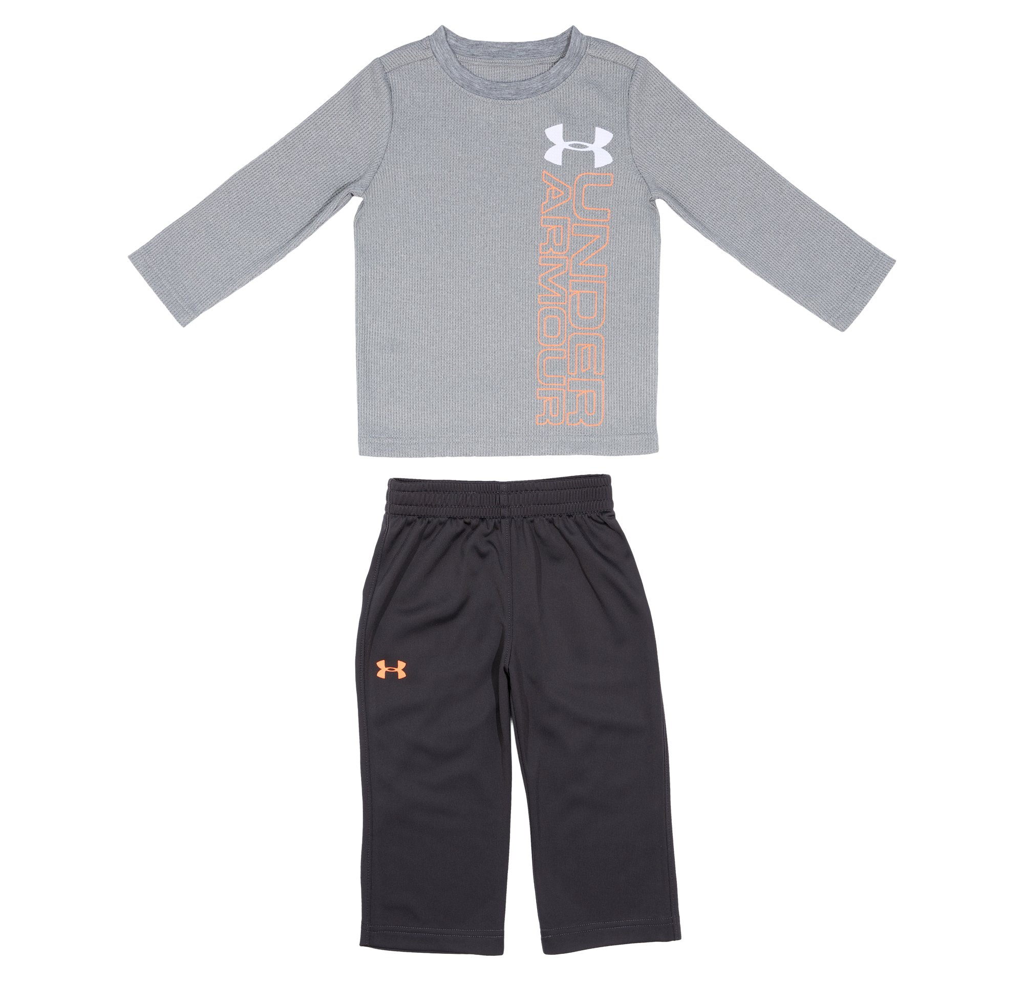 Boys' Infant UA Waffle Long Sleeve Bodysuit 2-Piece Set, True Gray Heather, Laydown