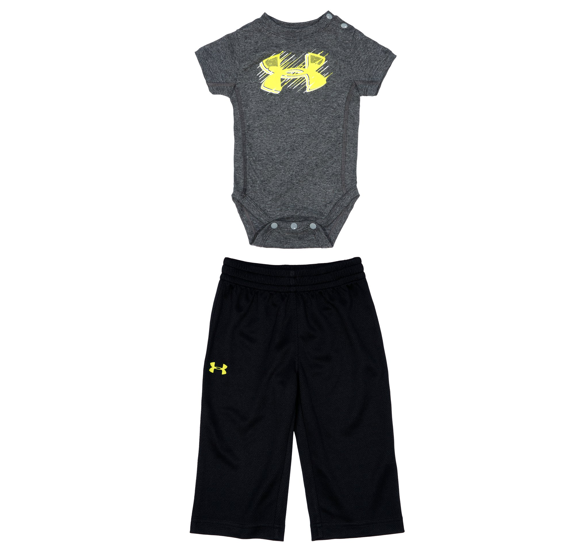 Boys' Newborn UA Light Speed 2-Piece Set, Carbon Heather, Laydown