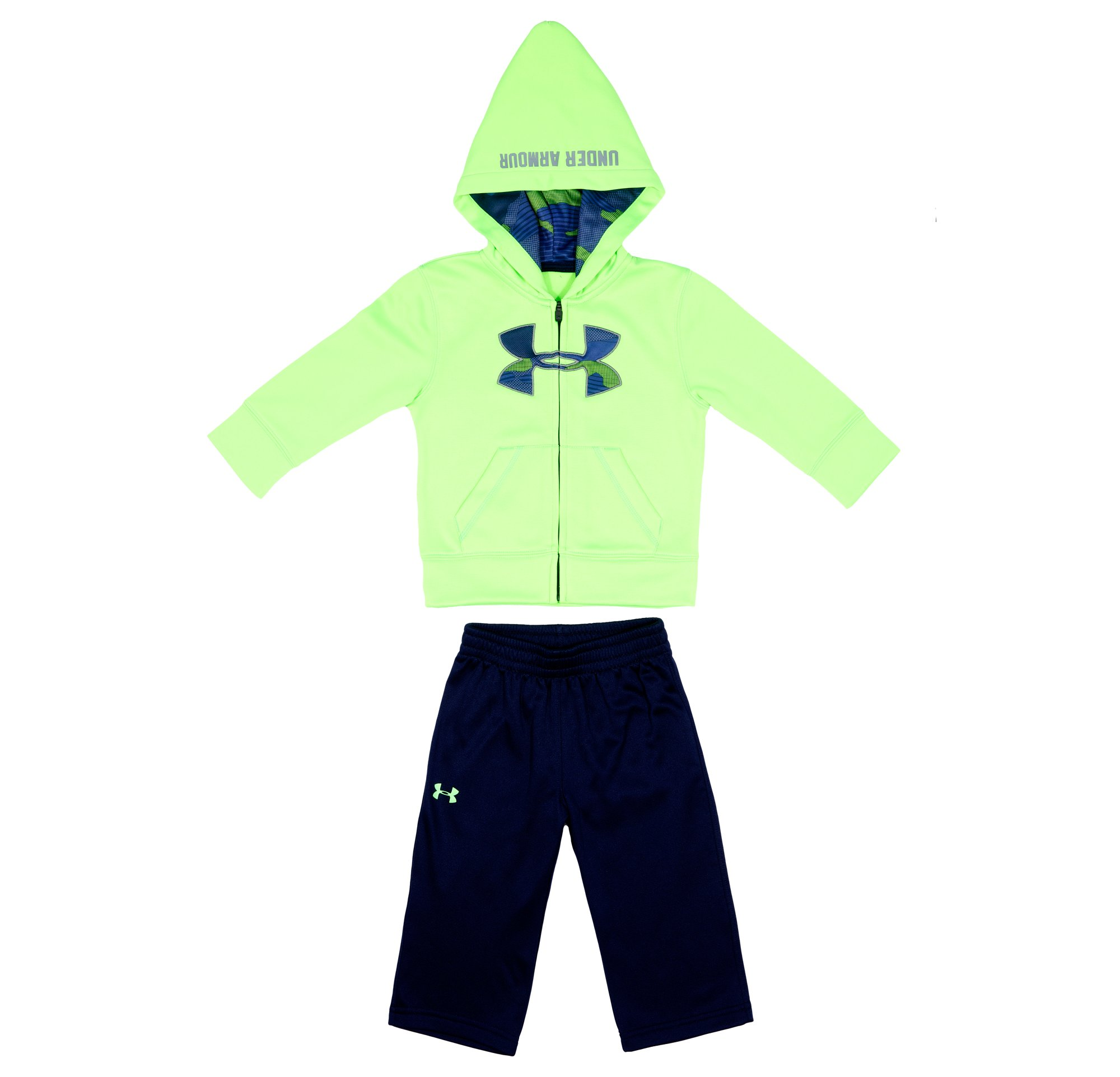 Boys' Newborn UA Future Camo Hoodie 2-Piece Set, HYPER GREEN, Laydown