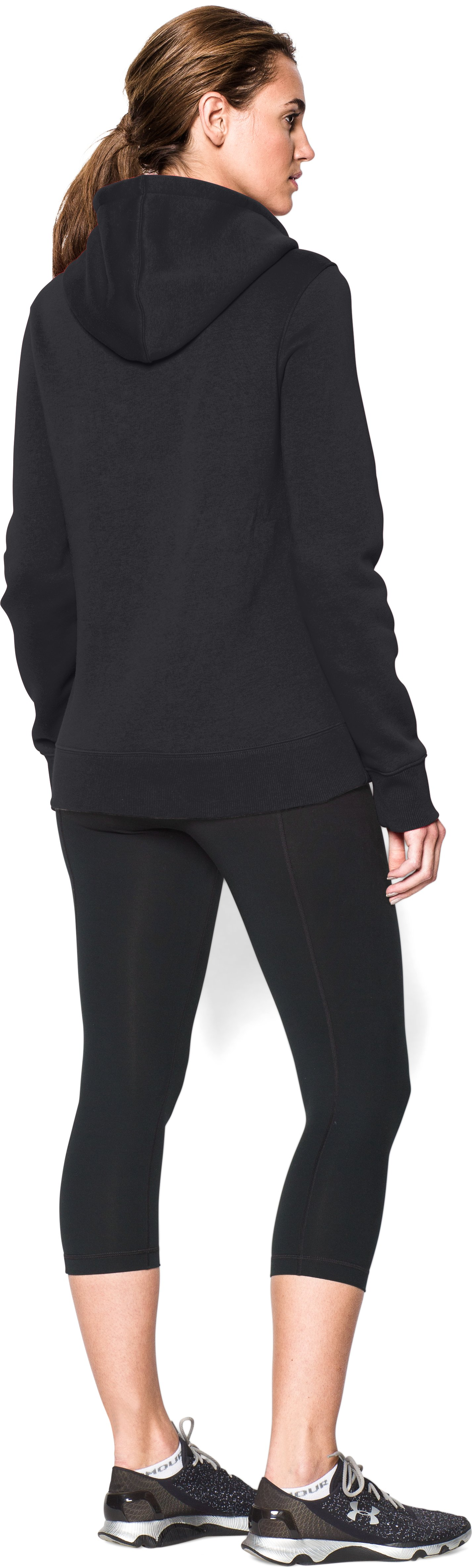 Women's UA Team Rival Fleece Hoodie, Black , Back