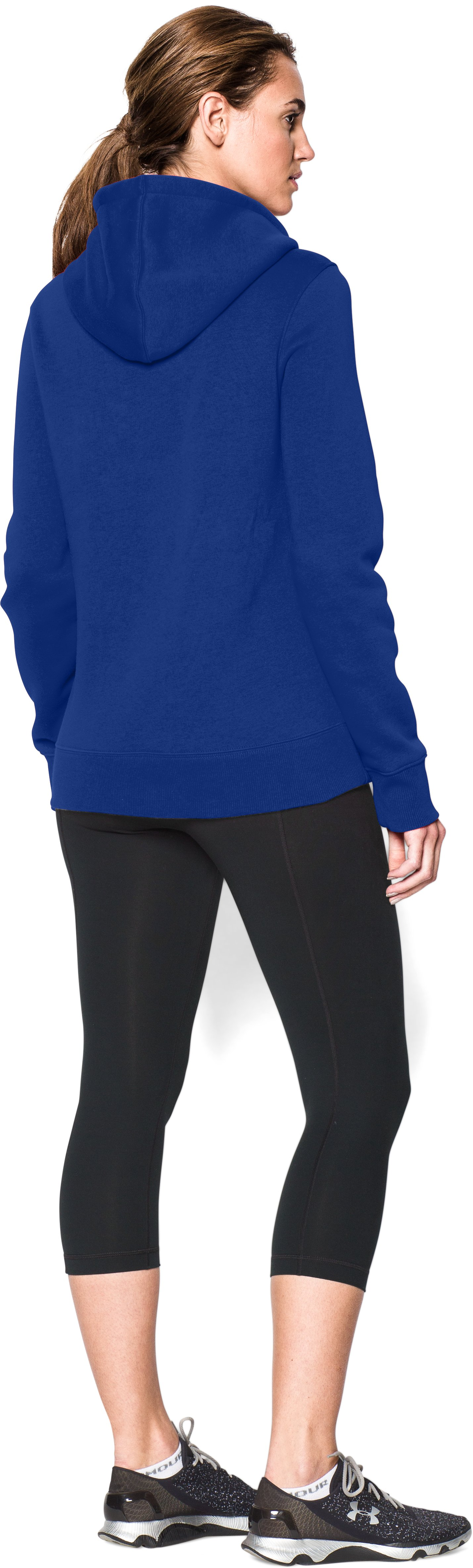 Women's UA Team Rival Fleece Hoodie, Royal, Back
