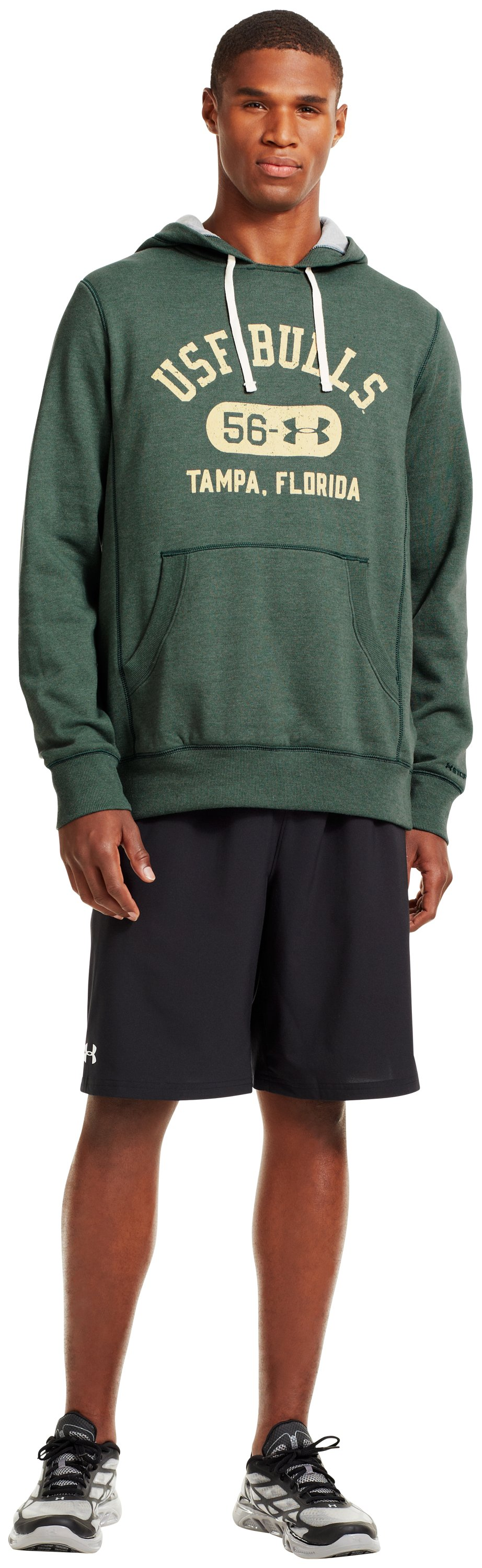 Men's South Florida Under Armour® Legacy Hoodie, Forest Green, Front