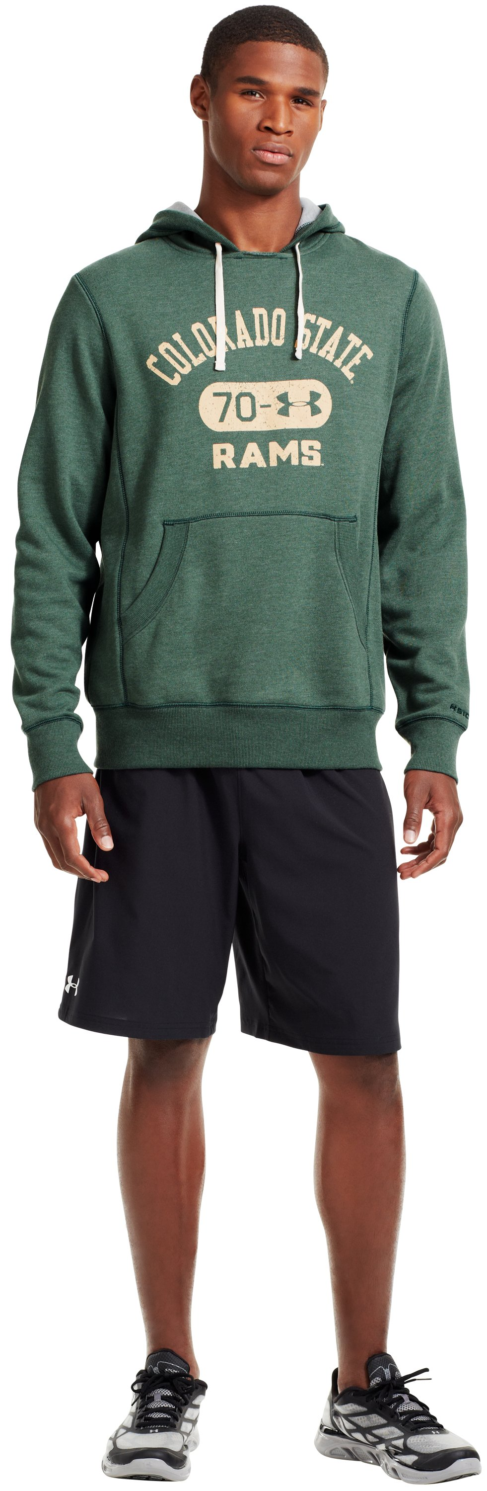 Men's Colorado State Under Armour® Legacy Hoodie, Forest Green, Front