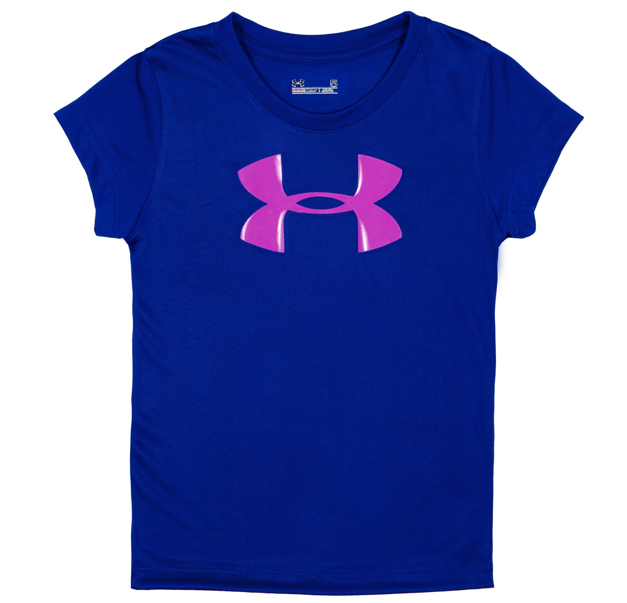 Girls' Pre-School UA Big Logo T-Shirt, BLU-AWAY, Laydown