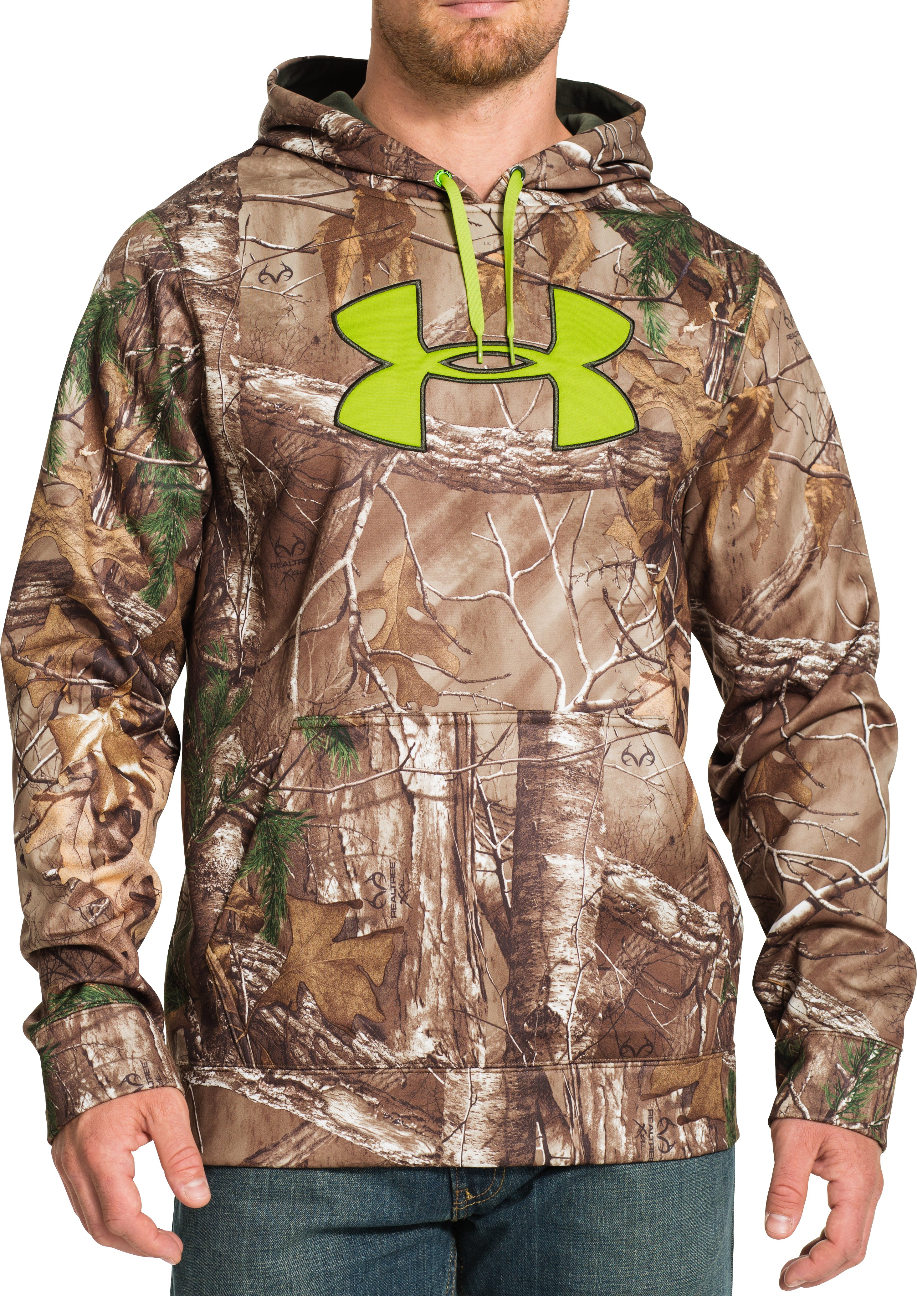 Men's UA ColdGear® Infrared Armour® Fleece Scent Control Hoodie, REALTREE AP-XTRA, Front