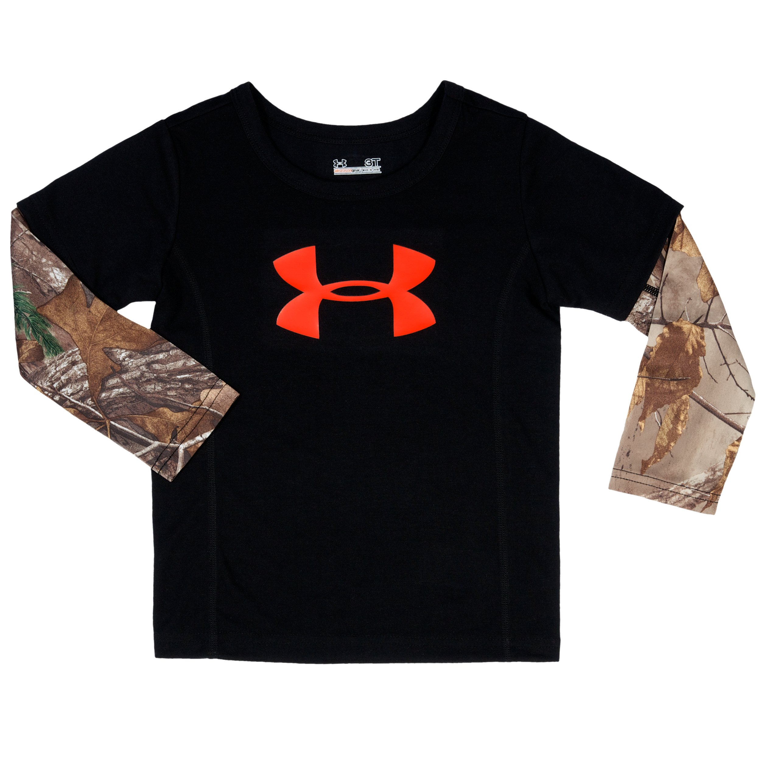 Boys' Pre-School UA Hunt Camo Long Sleeve, Rifle Green, Laydown