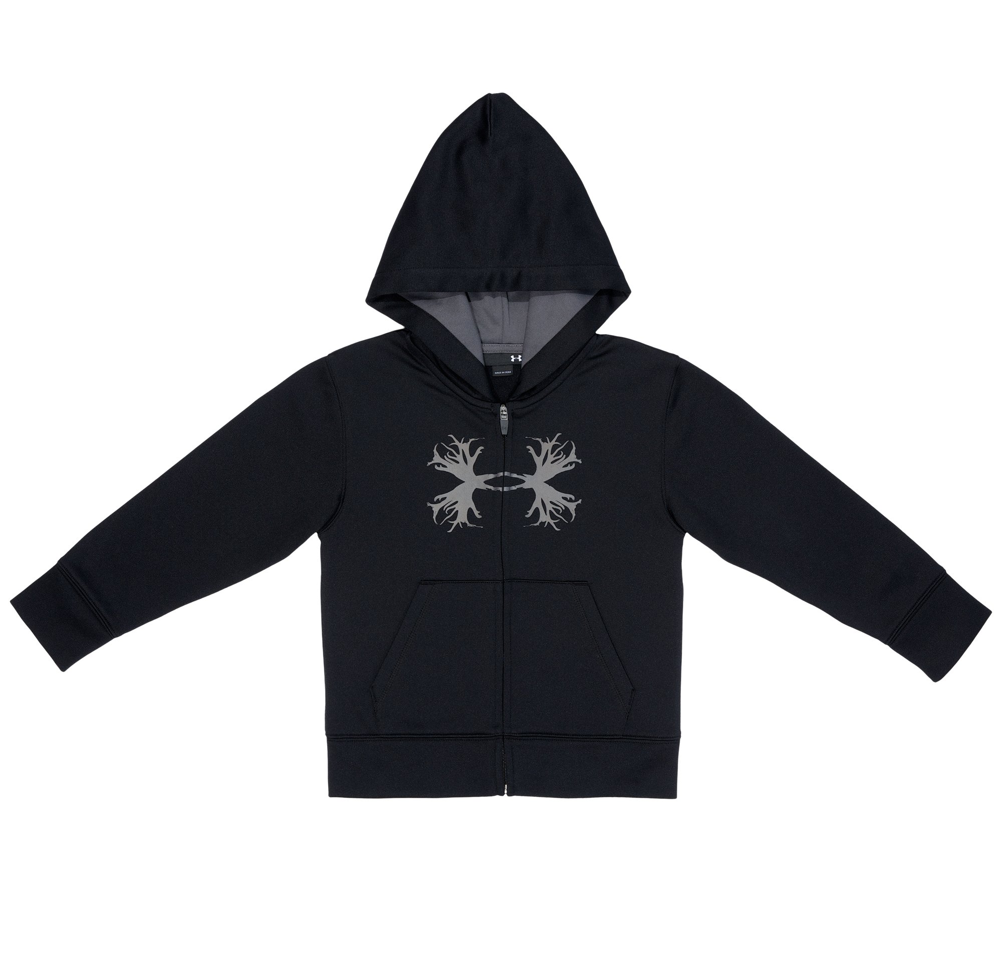Boys' Toddler UA Antler Logo Hoodie, Black , Laydown