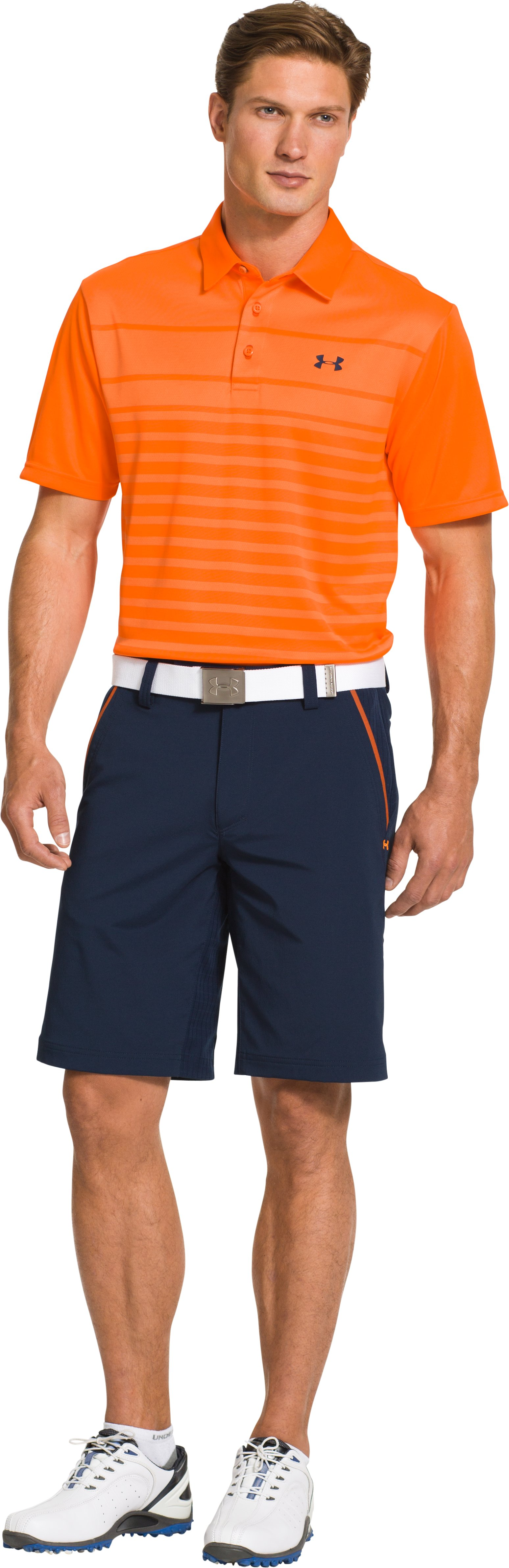 Men's UA Front9 Jacquard Polo, Blaze Orange, Front