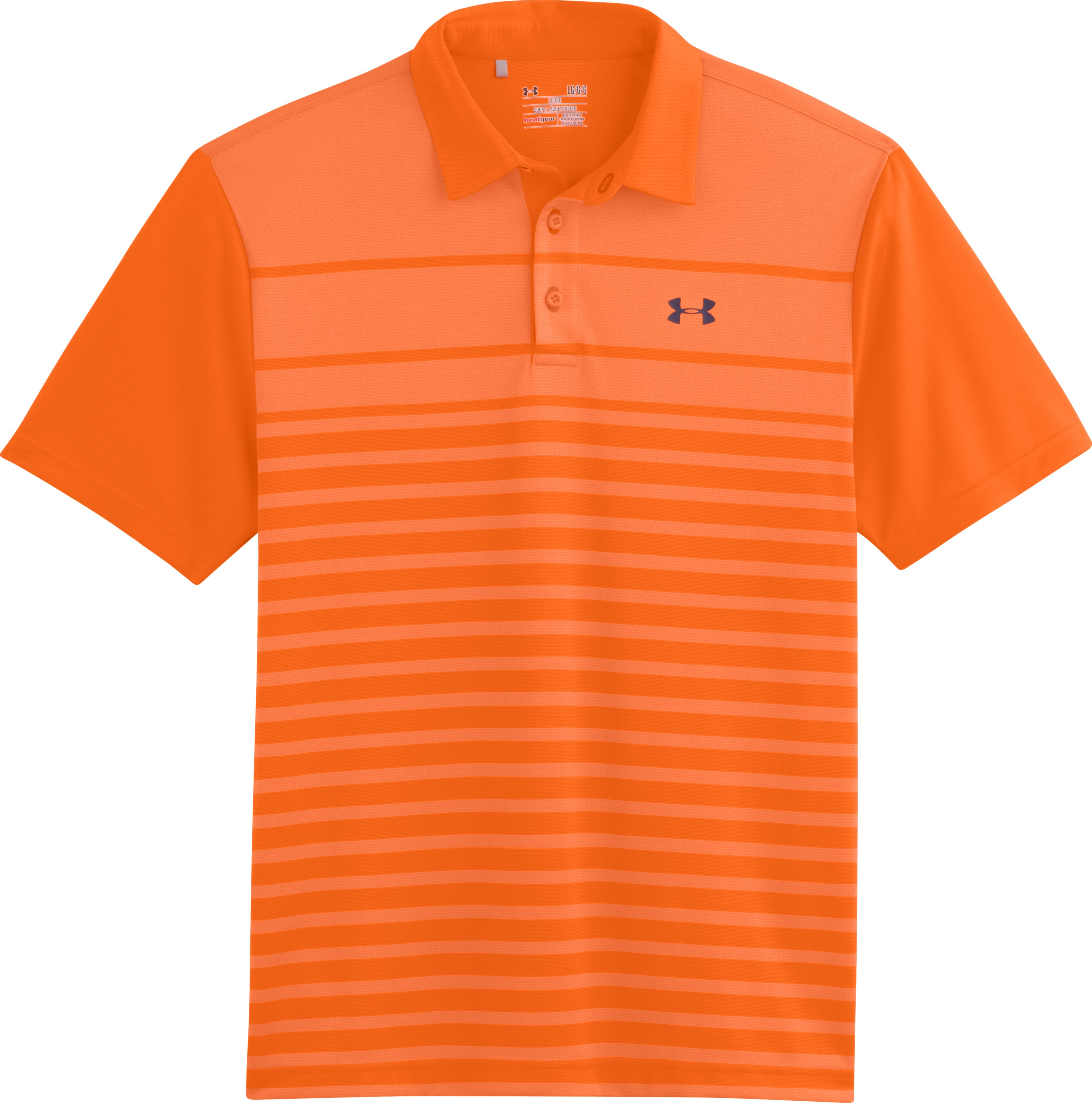 Men's UA Front9 Jacquard Polo, Blaze Orange, Laydown