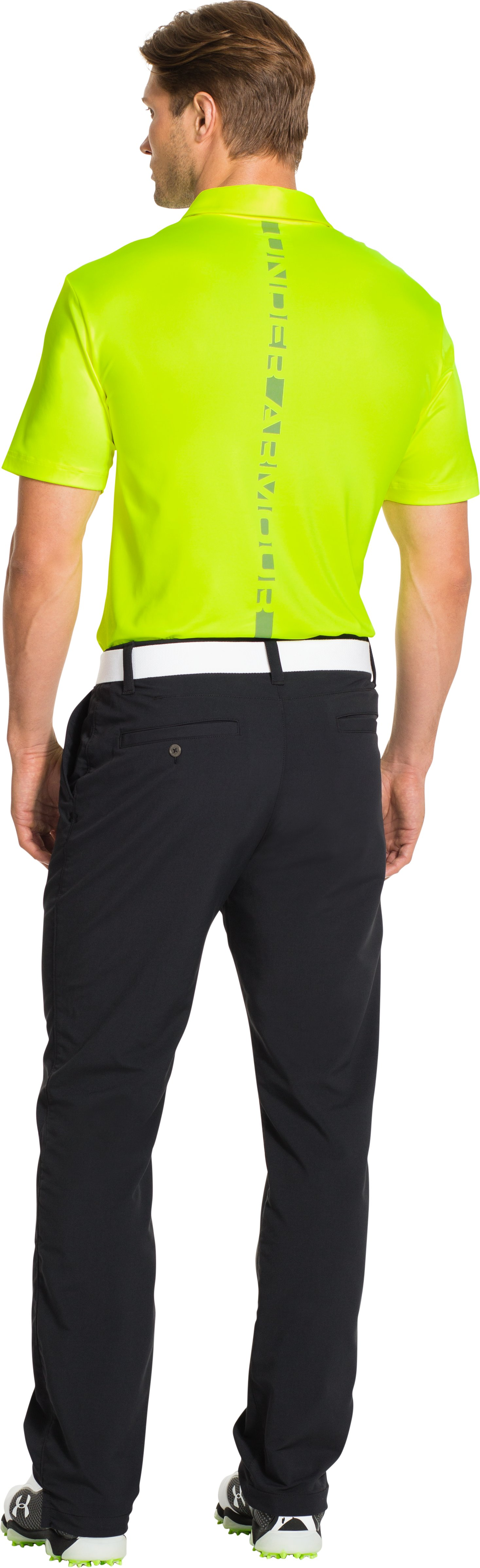 Men's UA Blocks Polo, High-Vis Yellow, Back