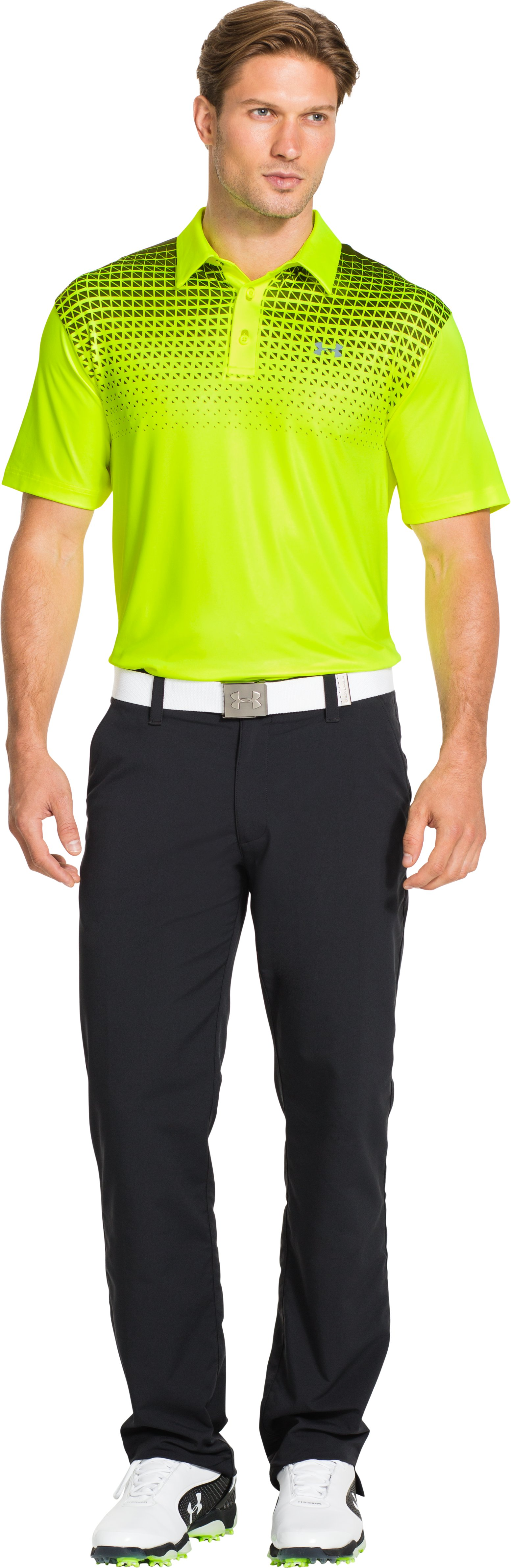 Men's UA Blocks Polo, High-Vis Yellow, Front