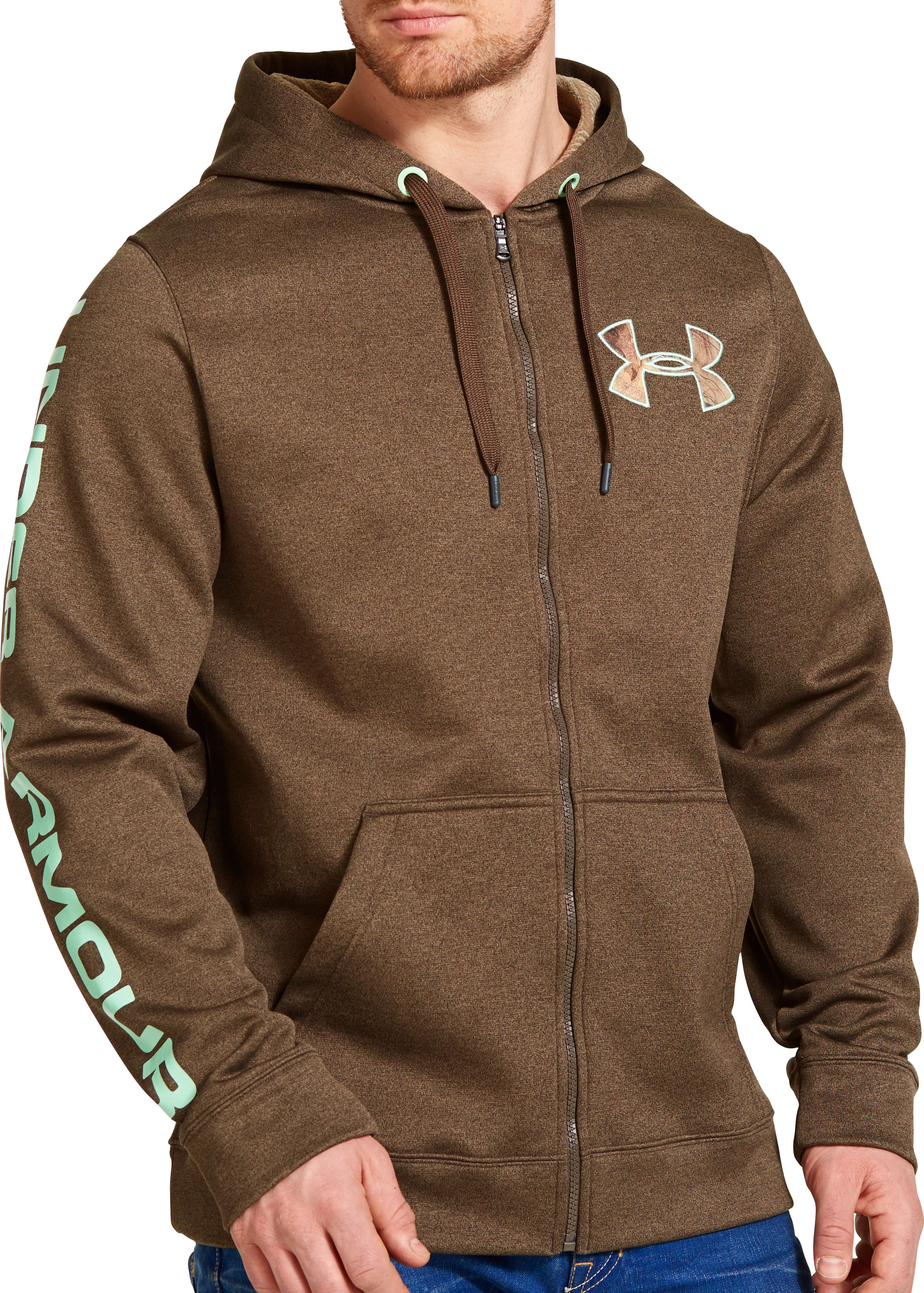 Men's UA Storm ColdGear® Infrared Armour® Fleece Caliber Hoodie, OWL BROWN, zoomed image