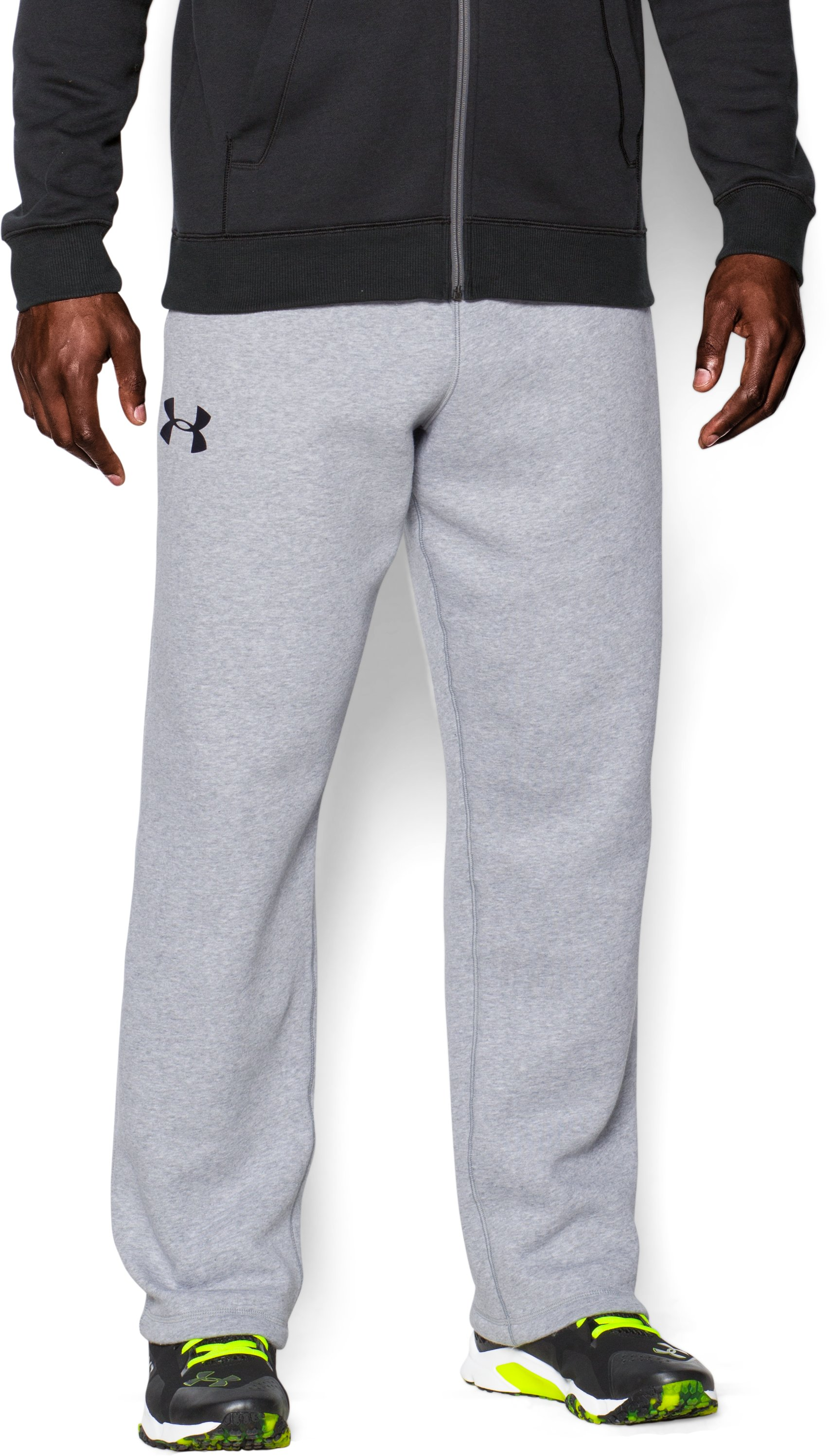 Men's UA Rival Fleece Pants, True Gray Heather, zoomed image