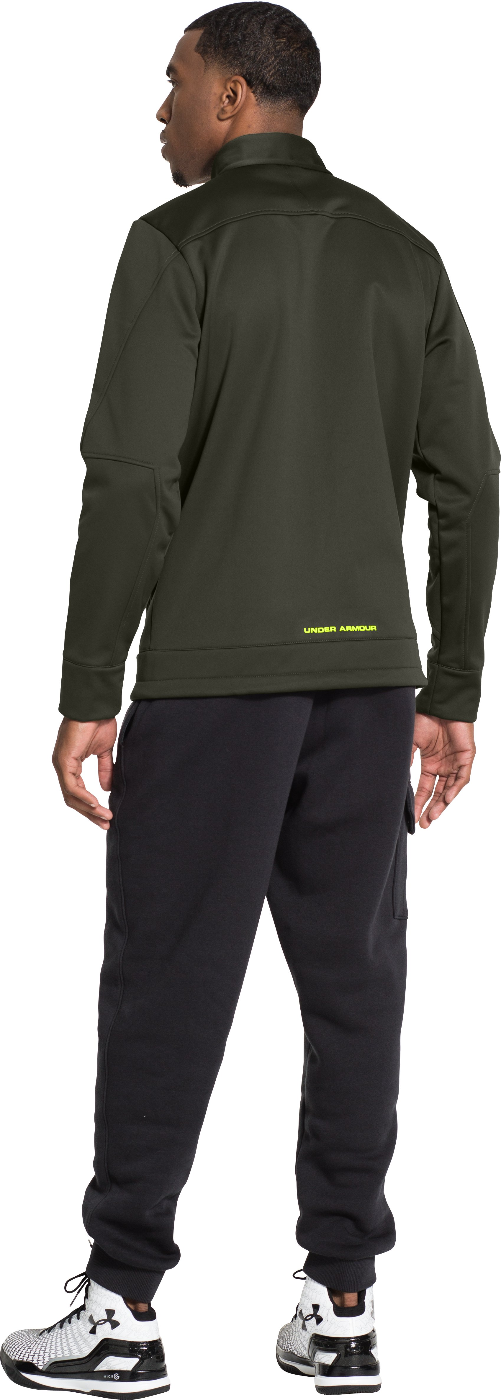 Men's UA Storm High Post Jacket, Rifle Green, Back
