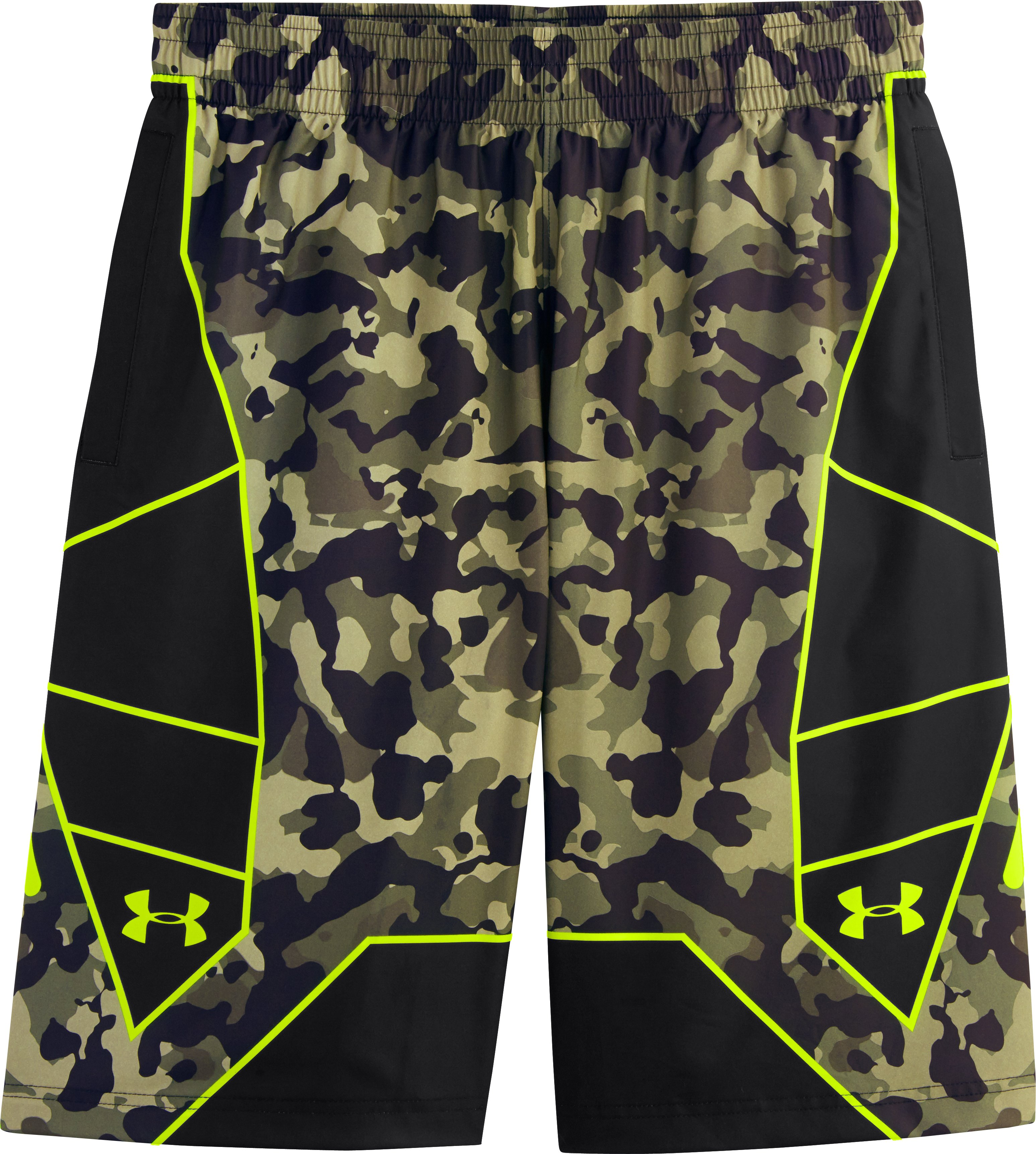 Men's UA Undeniable Playmaker Basketball Shorts, Rifle Green, Laydown
