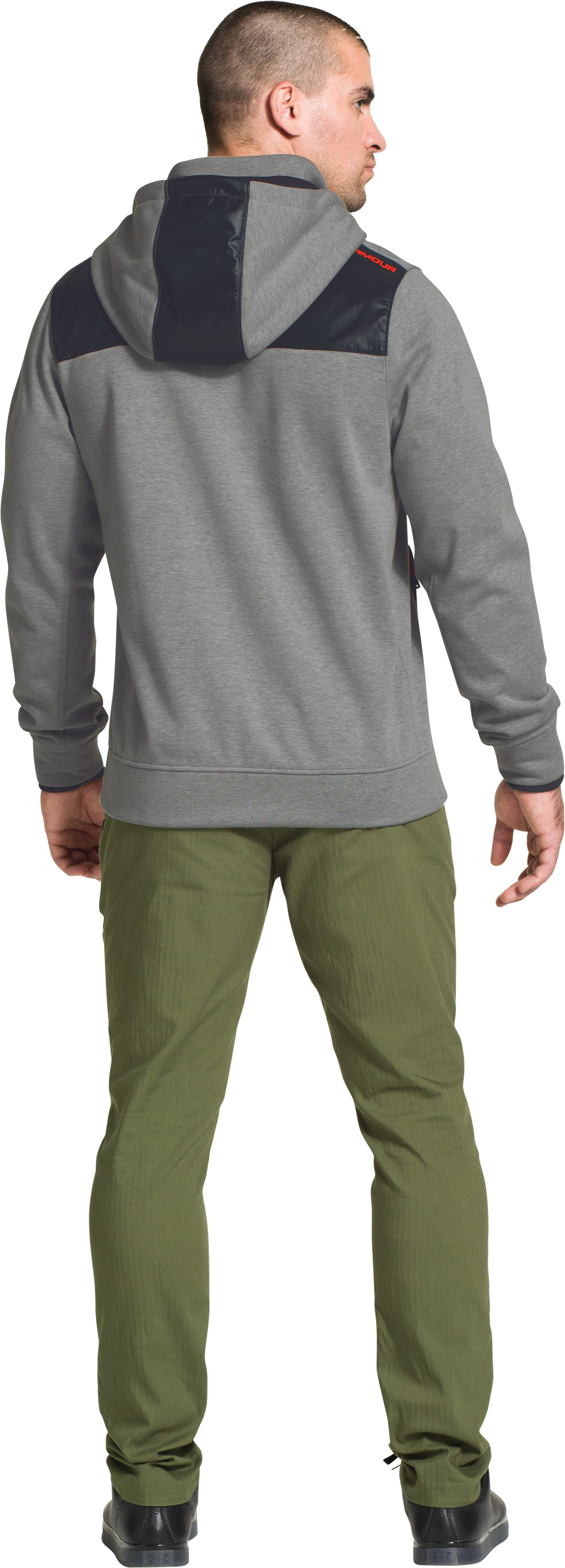Men's UA Storm Element Breaker Hoodie, True Gray Heather, Back