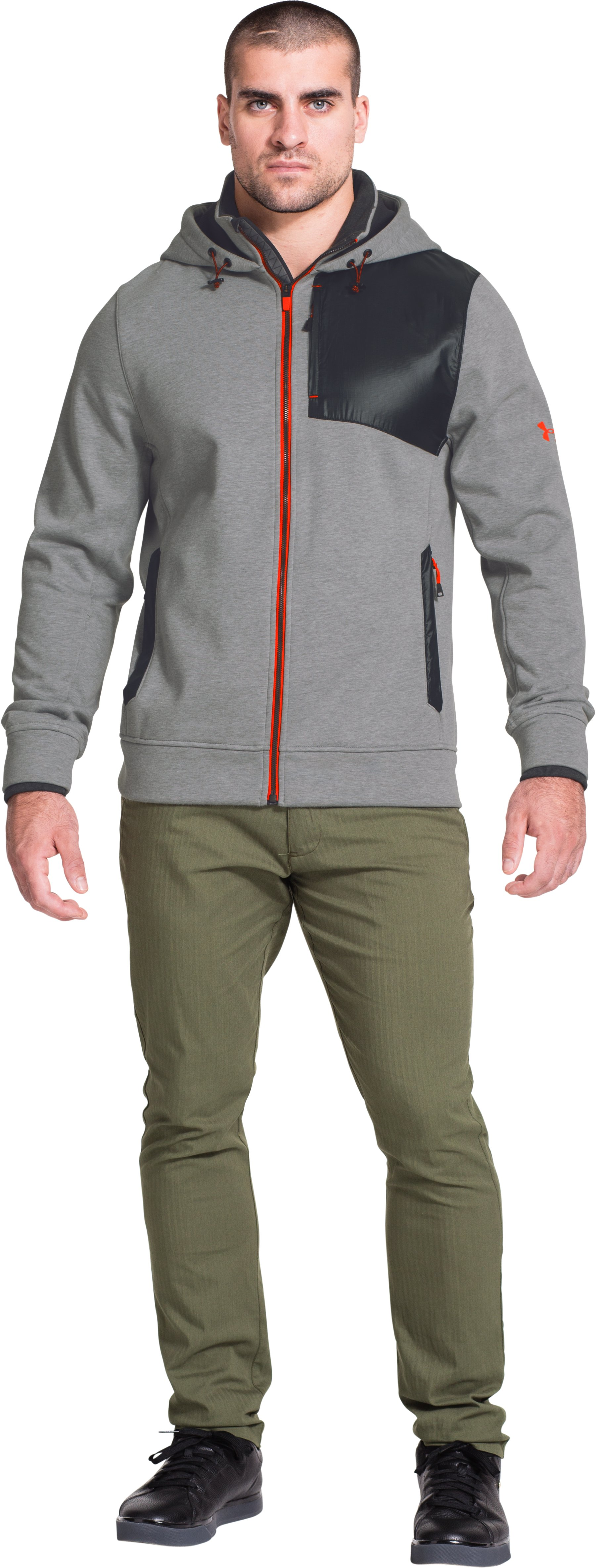 Men's UA Storm Element Breaker Hoodie, True Gray Heather, Front