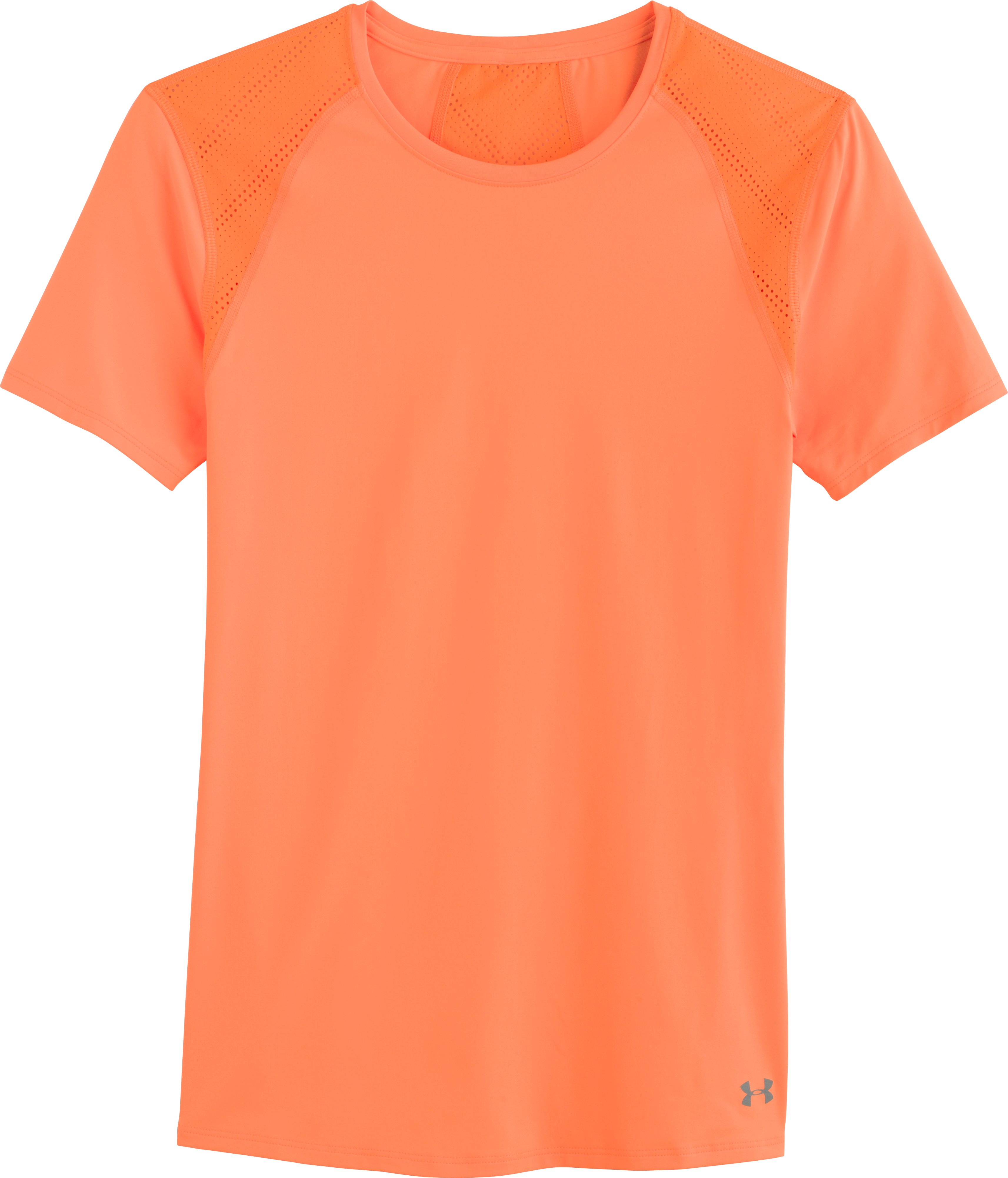 Women's UA HeatGear® ArmourVent™ Short Sleeve, CITRUS BLAST, Laydown