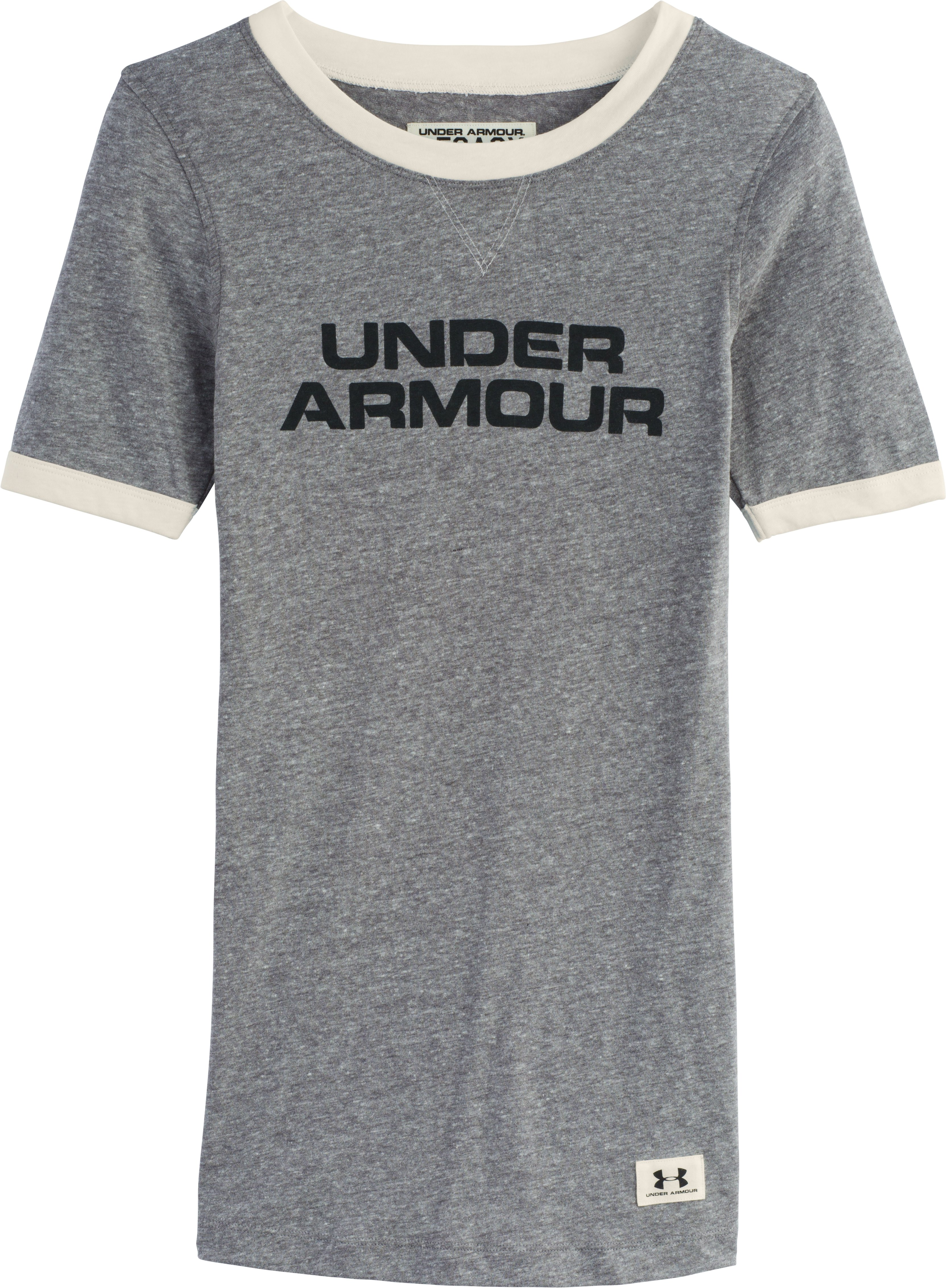 Women's Under Armour® Legacy Graphic Crew, Carbon Heather, Laydown