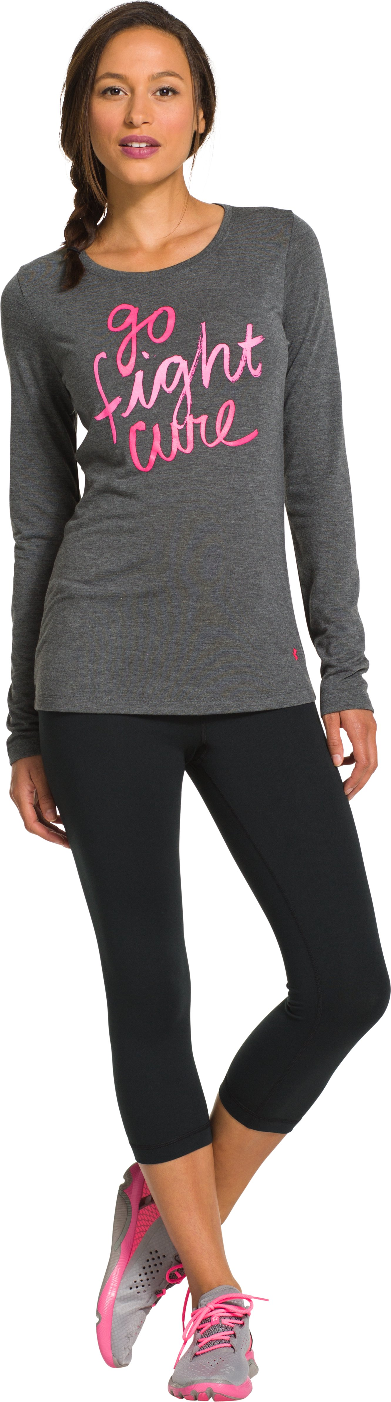 Women's UA Power In Pink® Go Fight Cure Long Sleeve, Carbon Heather