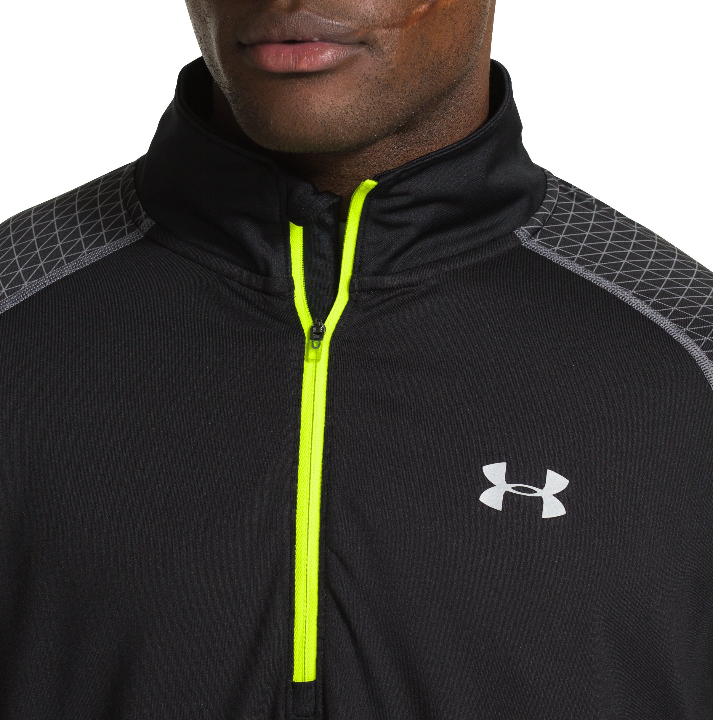 Men's UA ColdGear® Infrared Run ½ Zip, Black ,