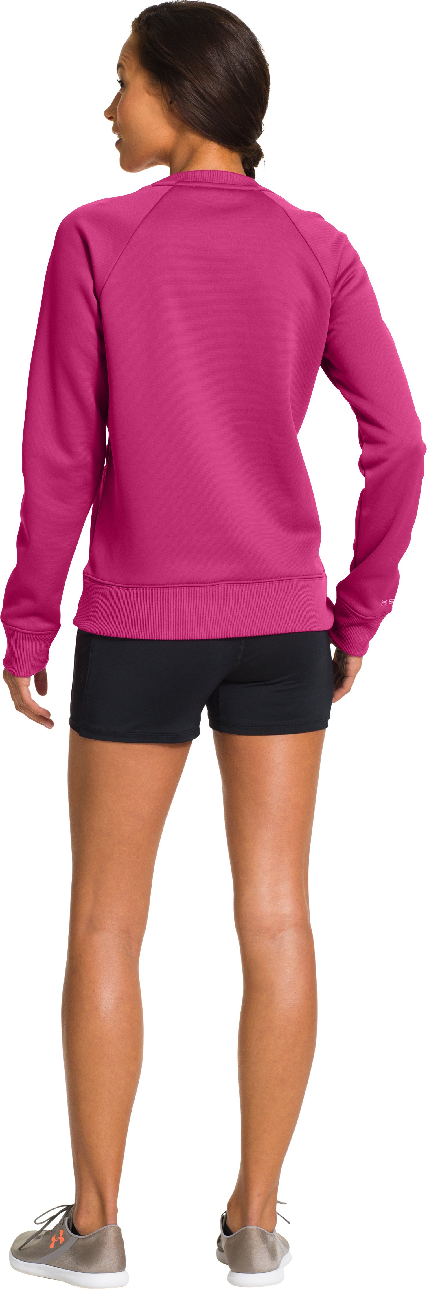 Women's UA Big Logo Letterman Crew, FUCHSIA ROSE, Back