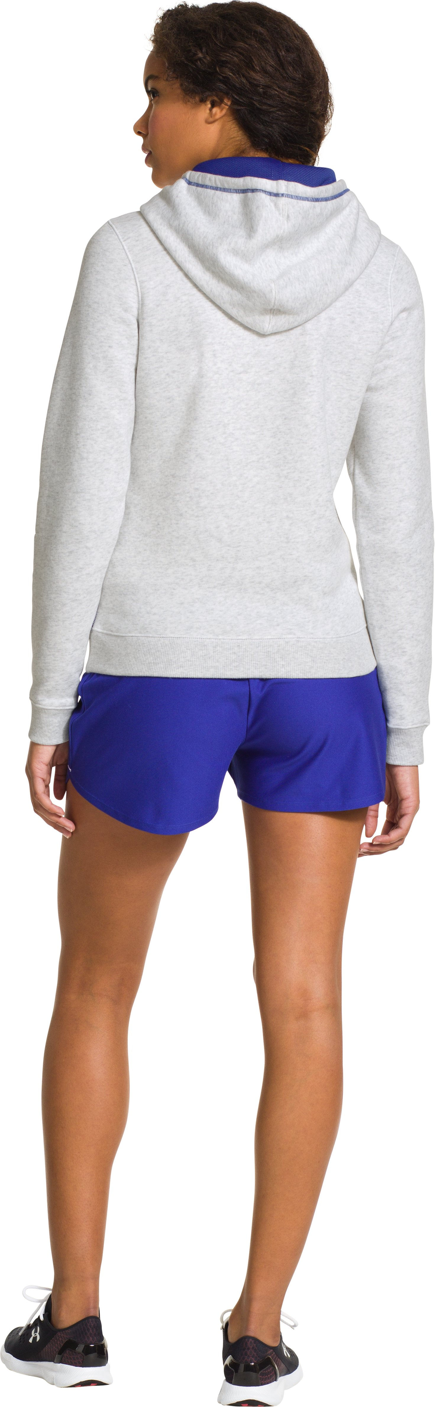 Women's UA Rival Cotton Hoodie, Silver Heather, Back