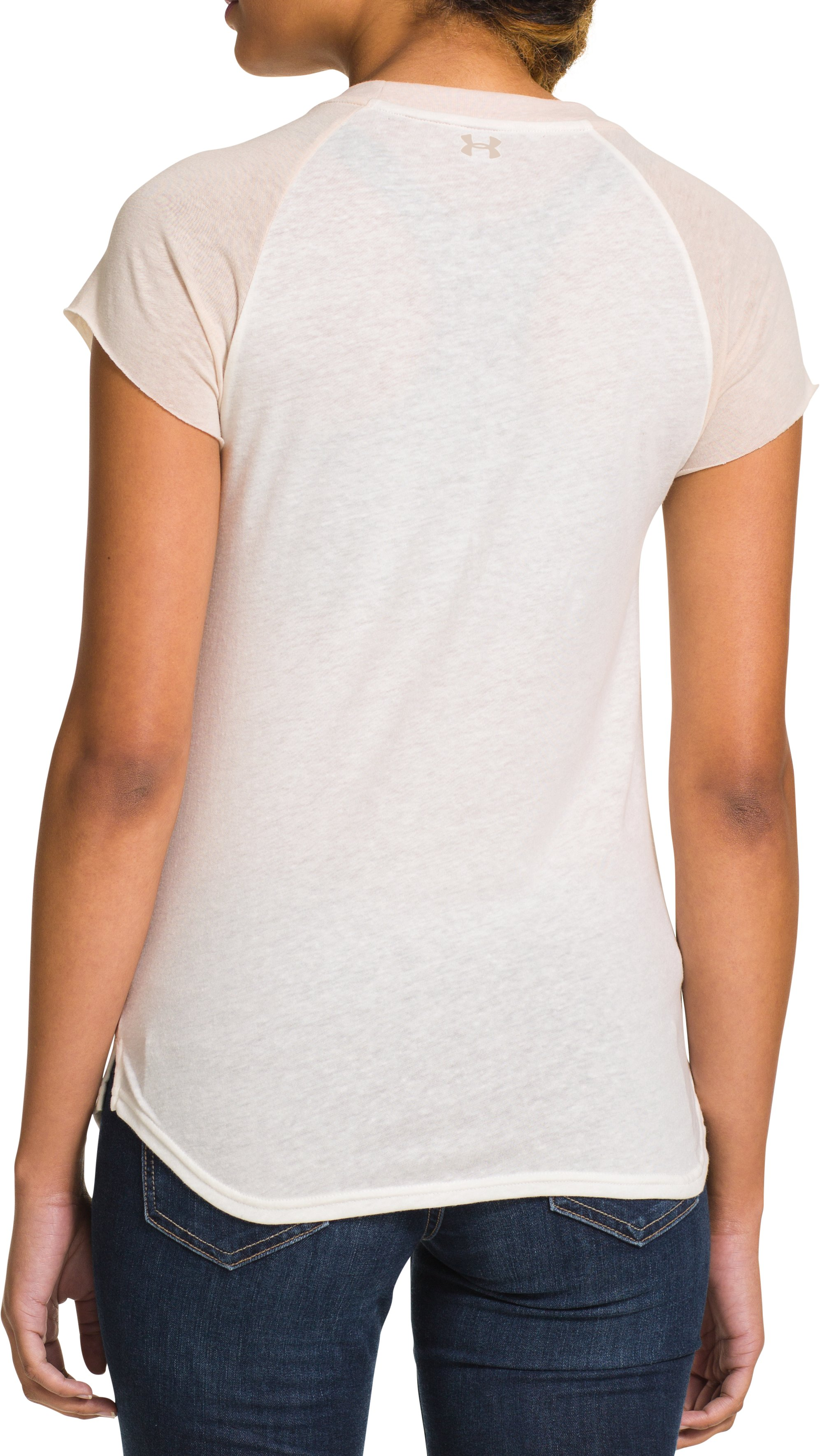 Women's UA Charged Cotton® Undeniable Crew, Ivory, Back