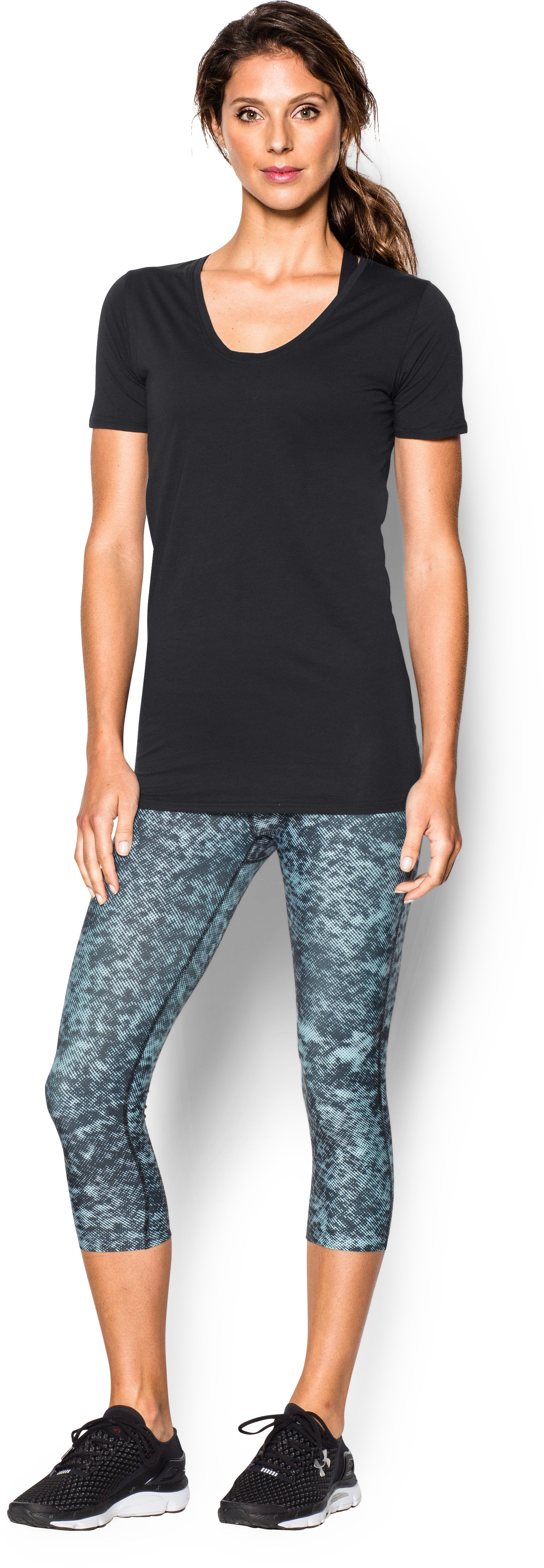 Women's UA Long & Lean V-Neck, Black , Front
