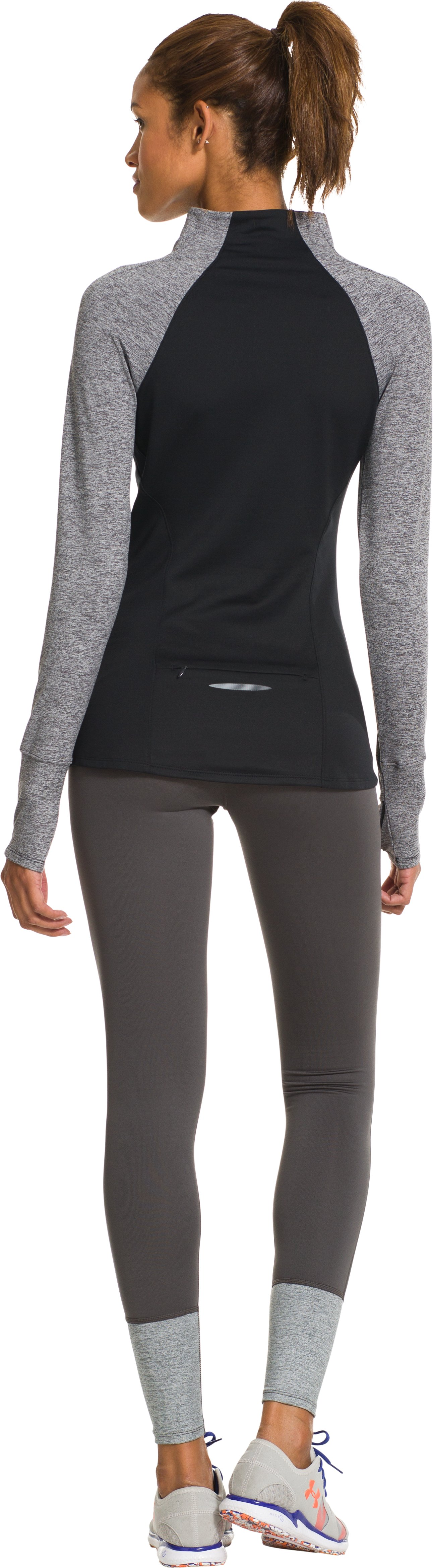 Women's UA Storm Heather 1/2 Zip, Black , Back