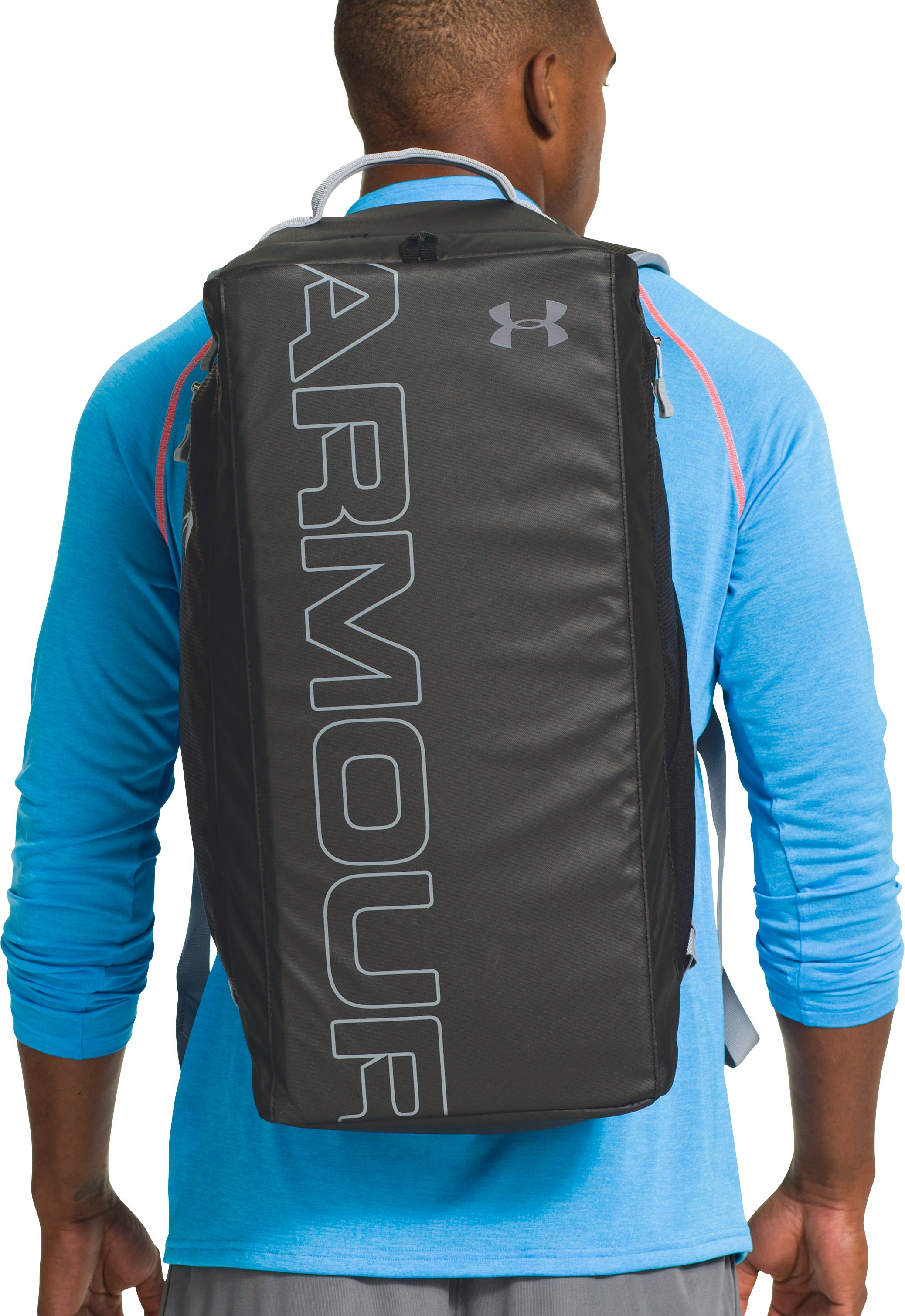 UA Storm Contain Backpack Duffle, Black , Back