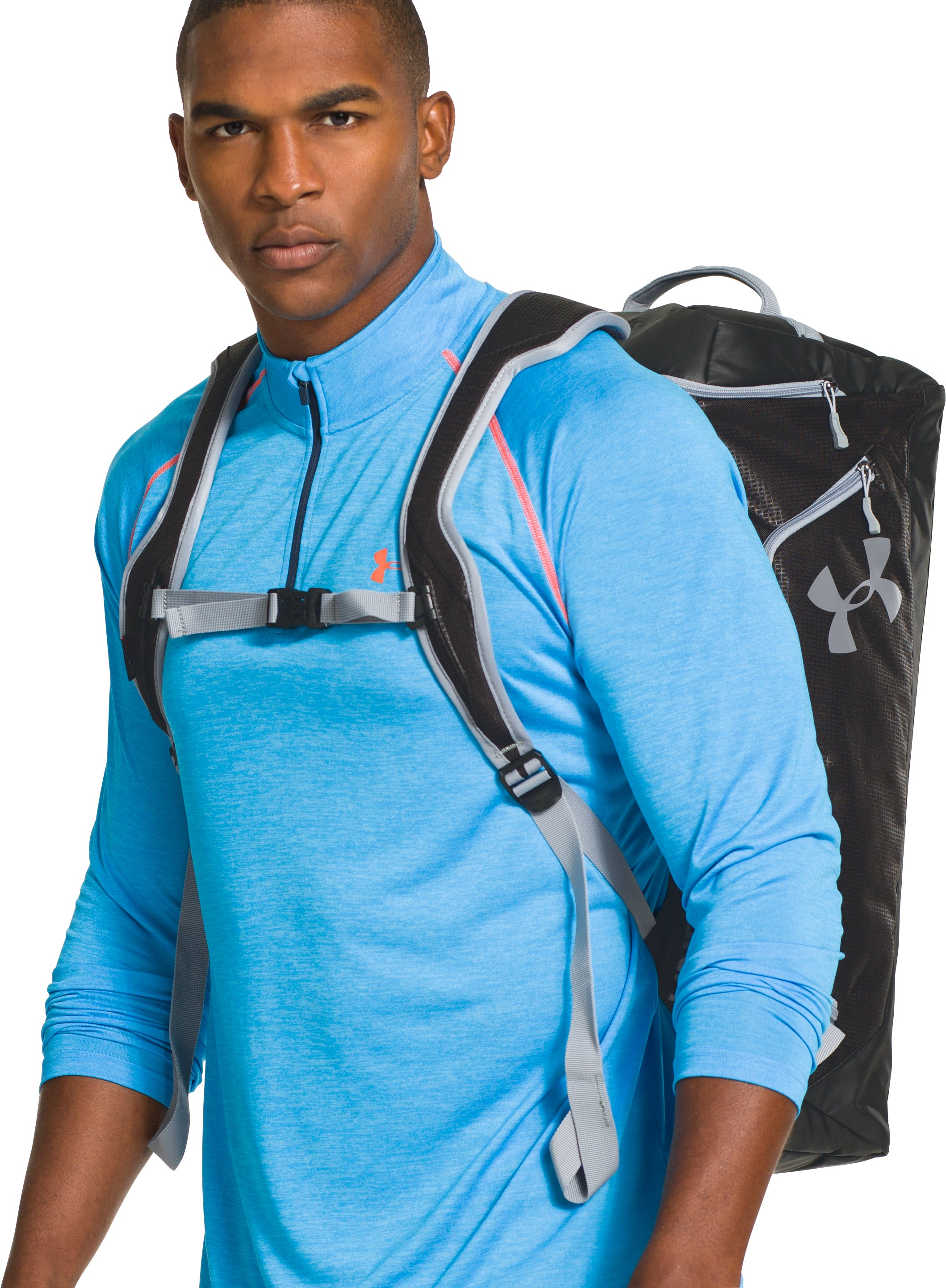 UA Storm Contain Backpack Duffle, Royal, Front