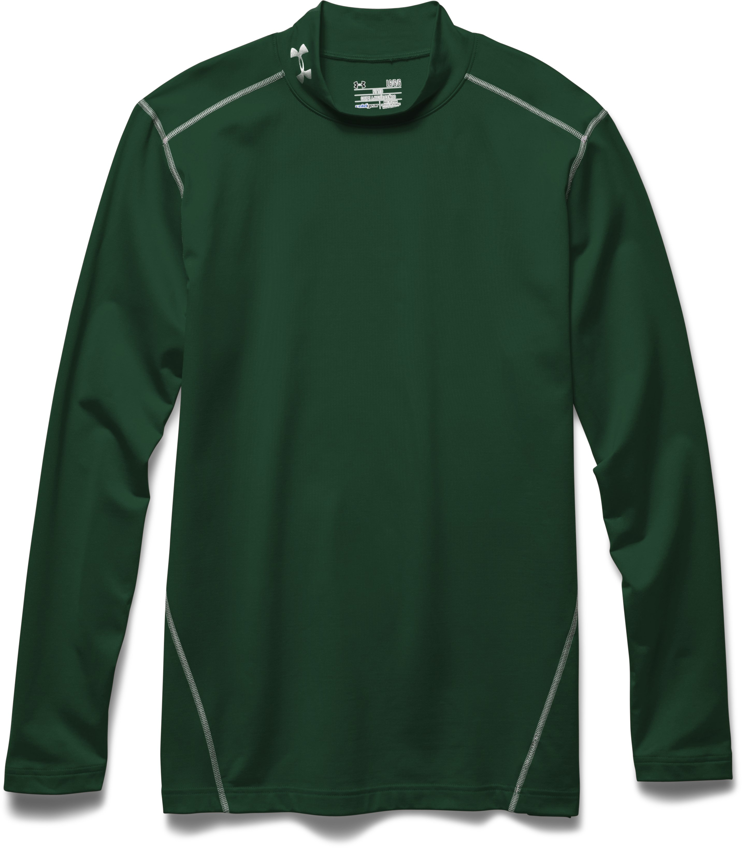 Men's UA ColdGear® Evo Fitted Mock, Forest Green, Laydown