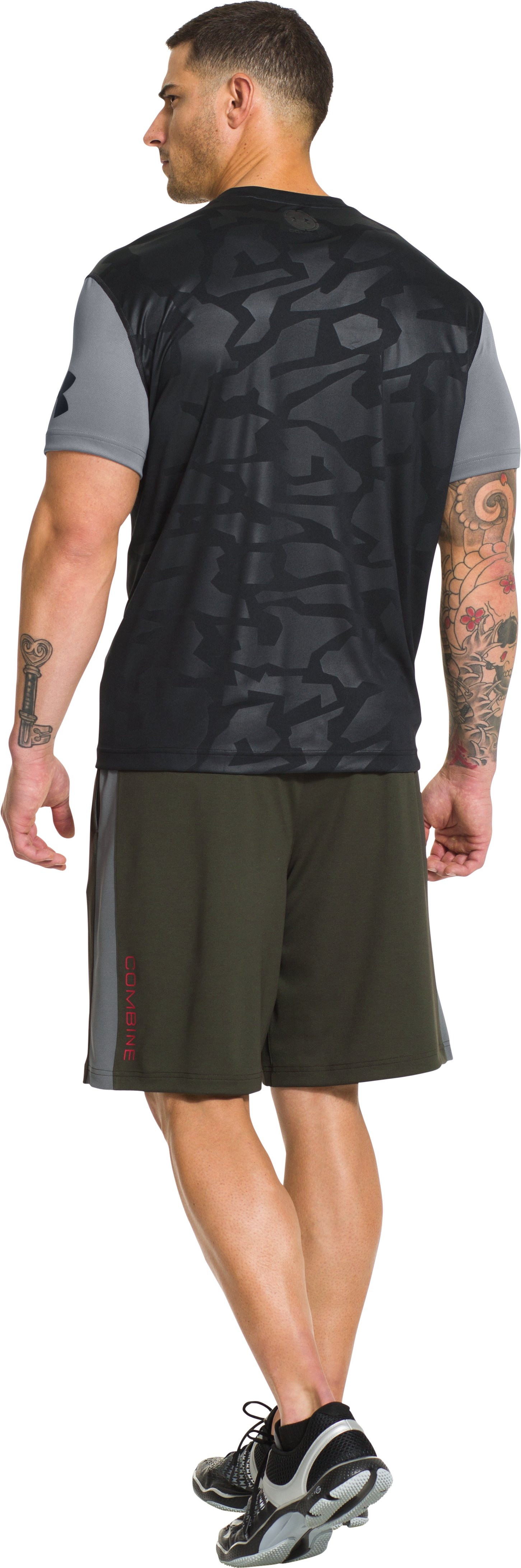 Men's UA Combine® Training Short Sleeve, Steel, Back