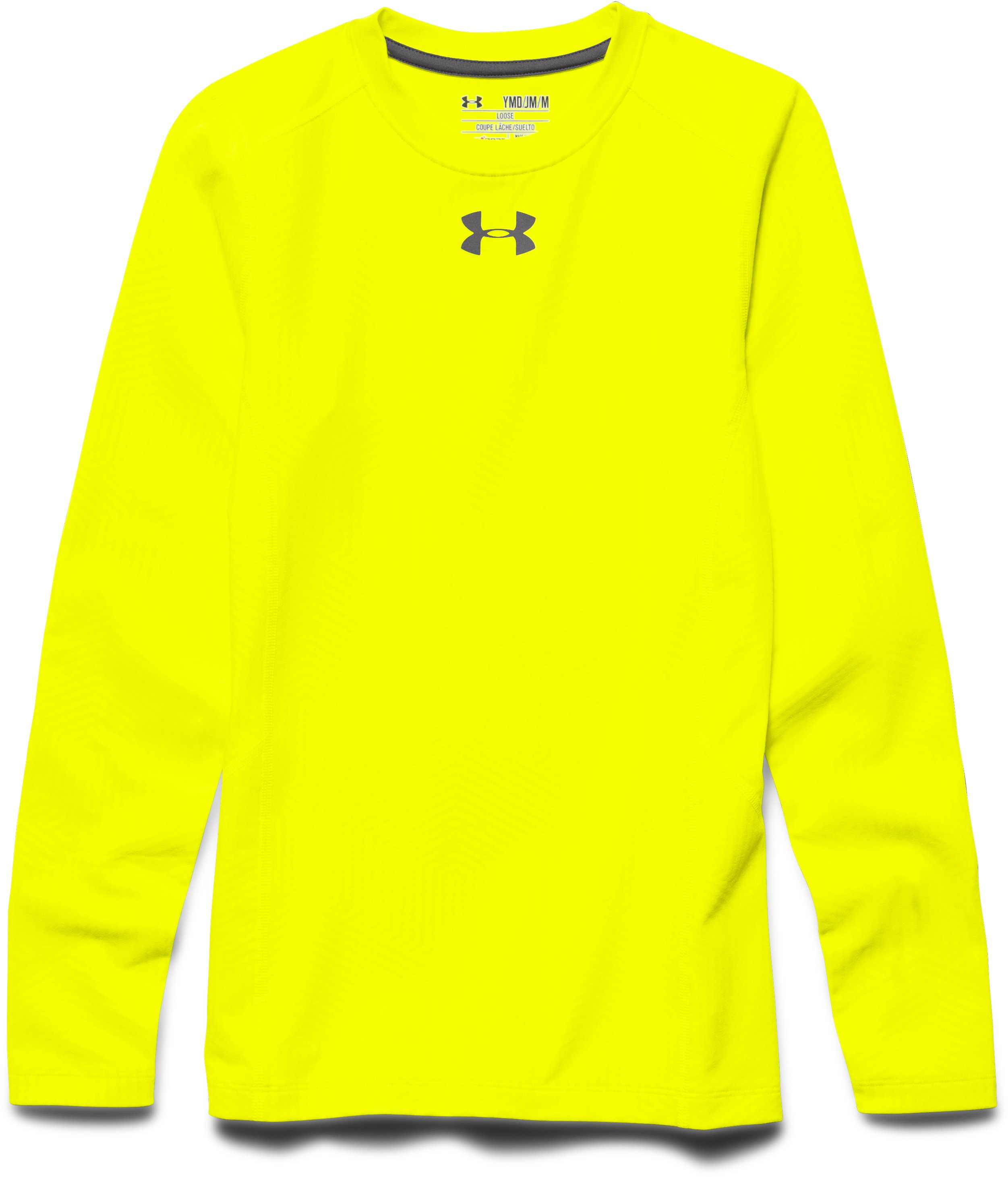 Boys' UA ColdGear® Infrared Everyday Crew, YELLOW RAY, Laydown