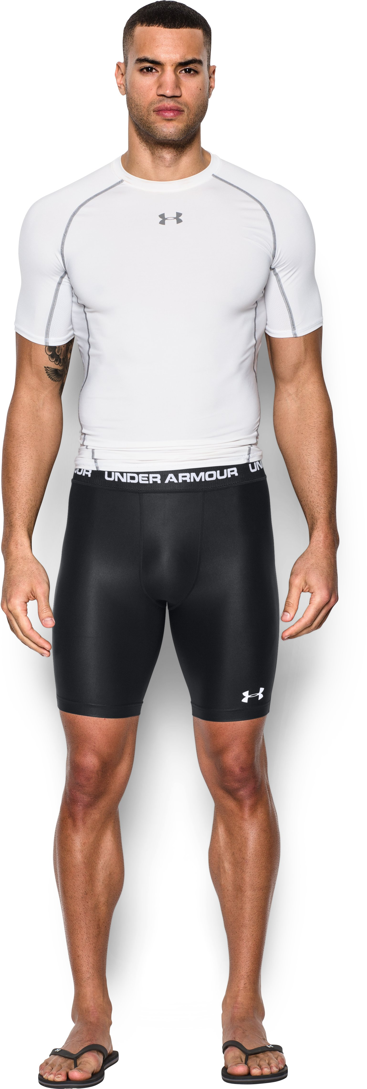 Men's UA Essential Compression Short Rashguard, Black , zoomed image