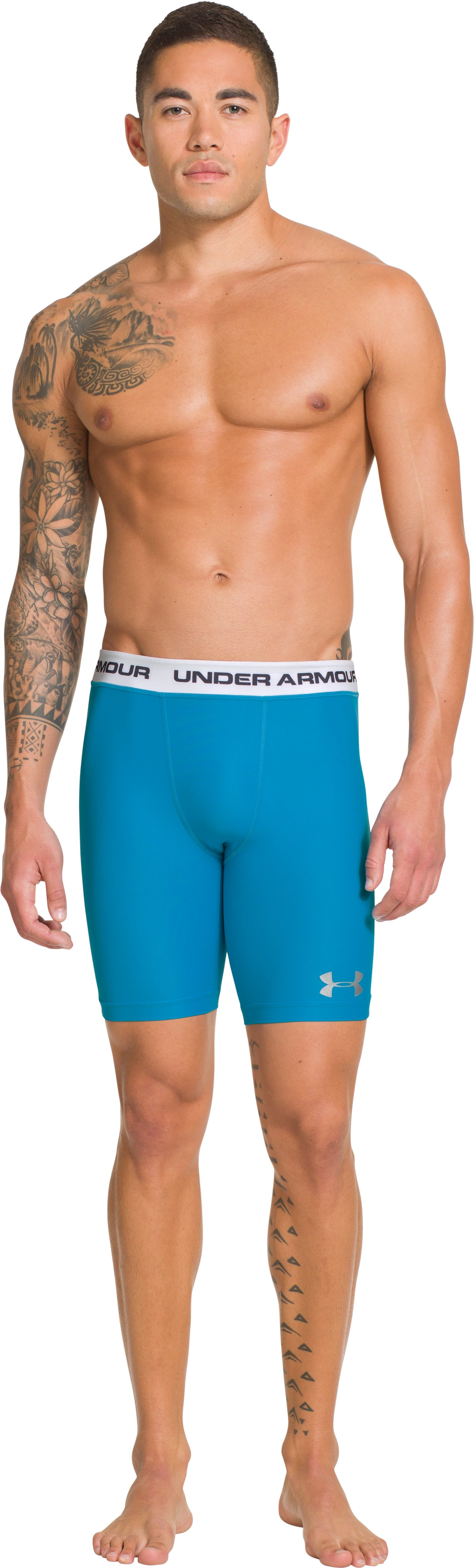 Men's UA Essential Compression Short Rashguard, PIRATE BLUE