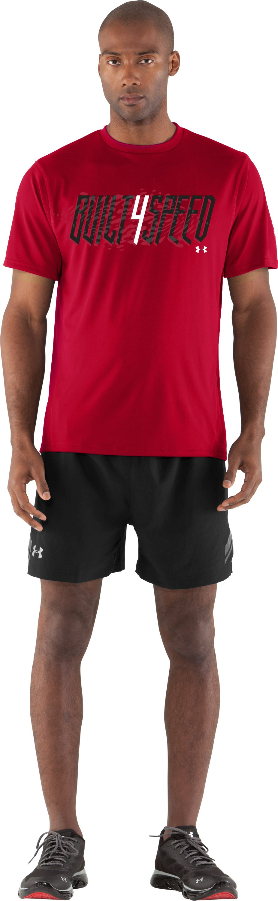 Men's UA Built 4 Speed T-Shirt, Red, Front