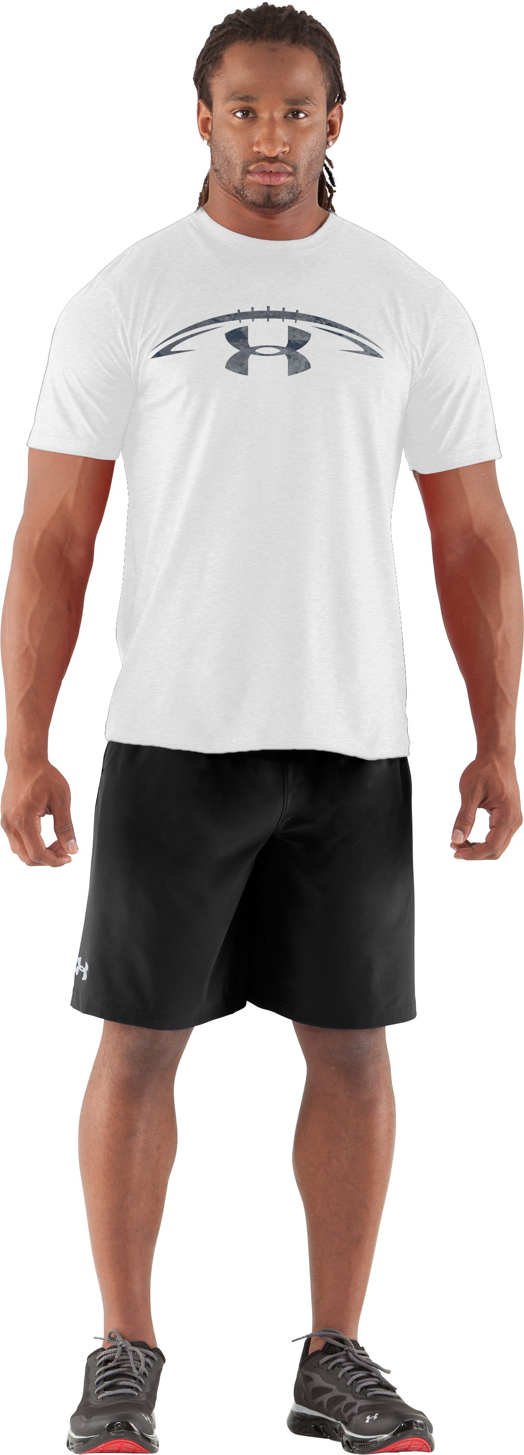 Men's UA Football Concrete Logo T-Shirt, White, zoomed image