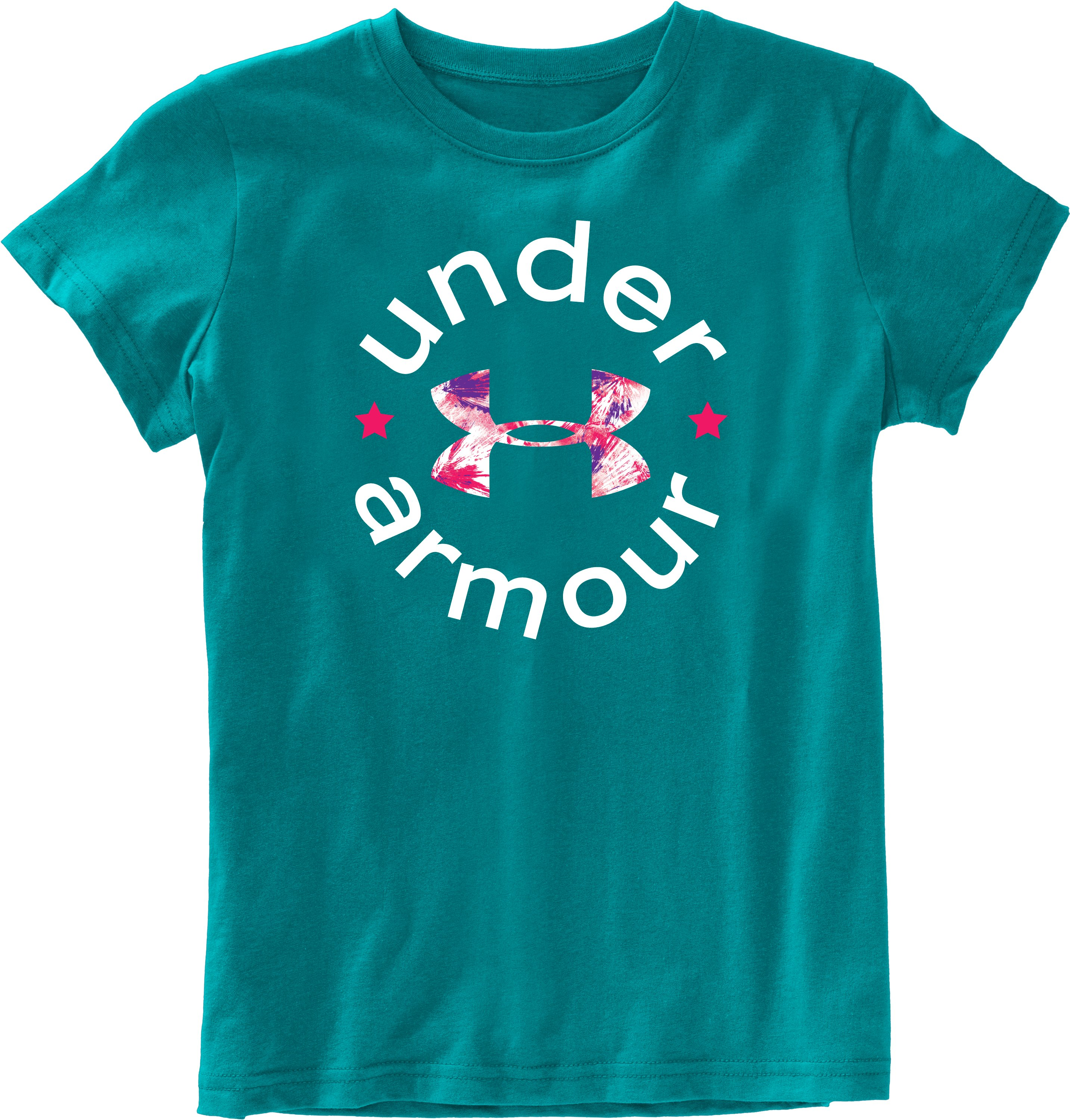 Girls' UA Wordmark Graphic T-Shirt, CERULEAN, Laydown