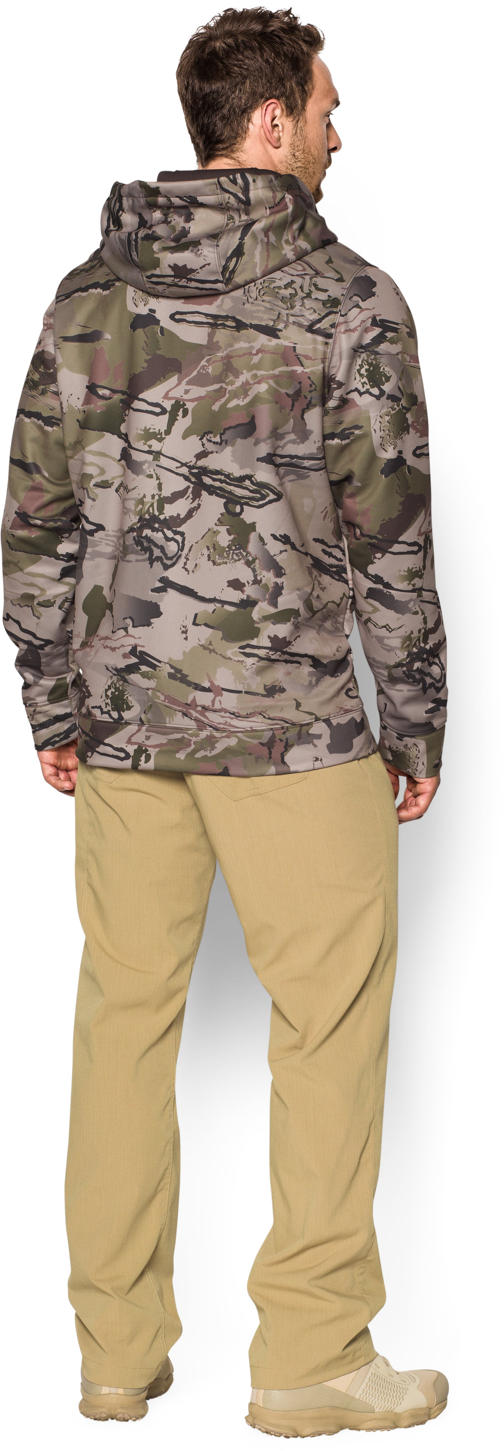 Men's Armour® Fleece Camo Big Logo Hoodie, RIDGE REAPER® BARREN, Back