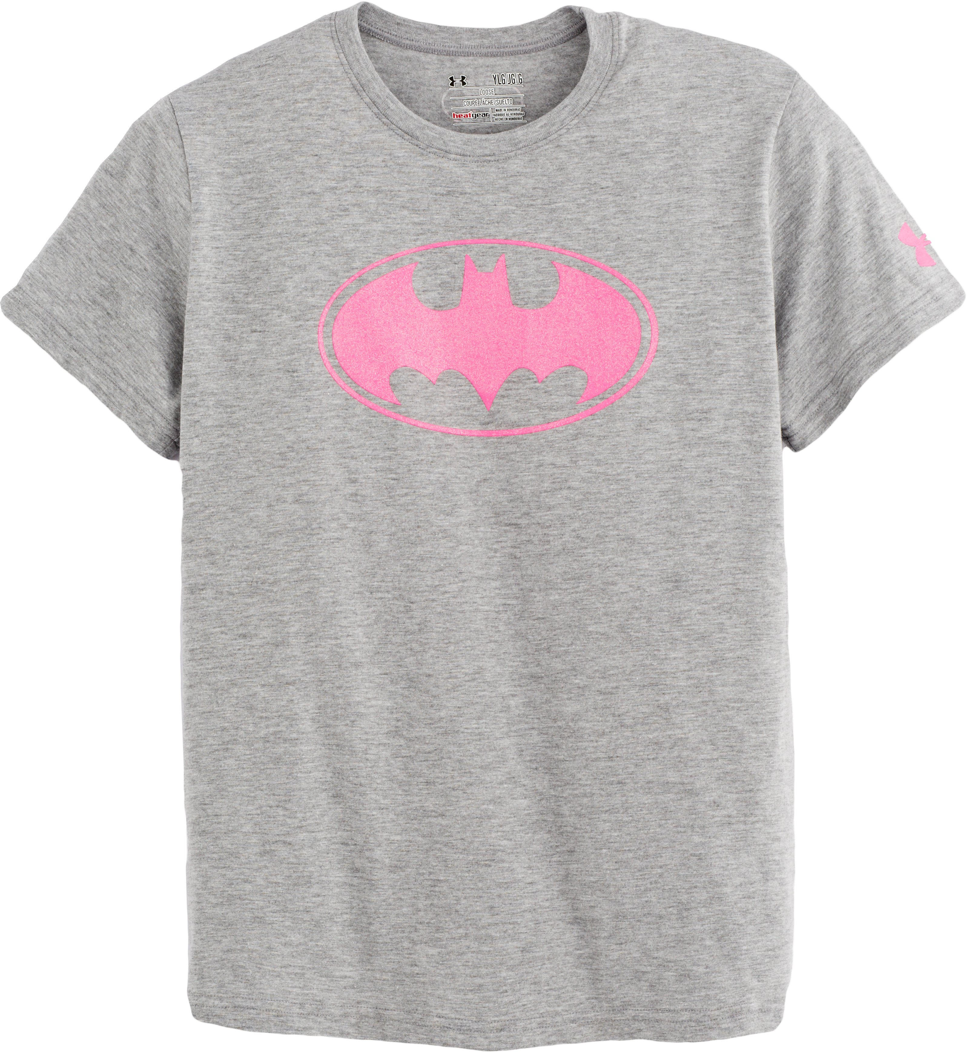 Girls' Under Armour® Alter Ego Batgirl Sparkle T-Shirt, True Gray Heather, Laydown