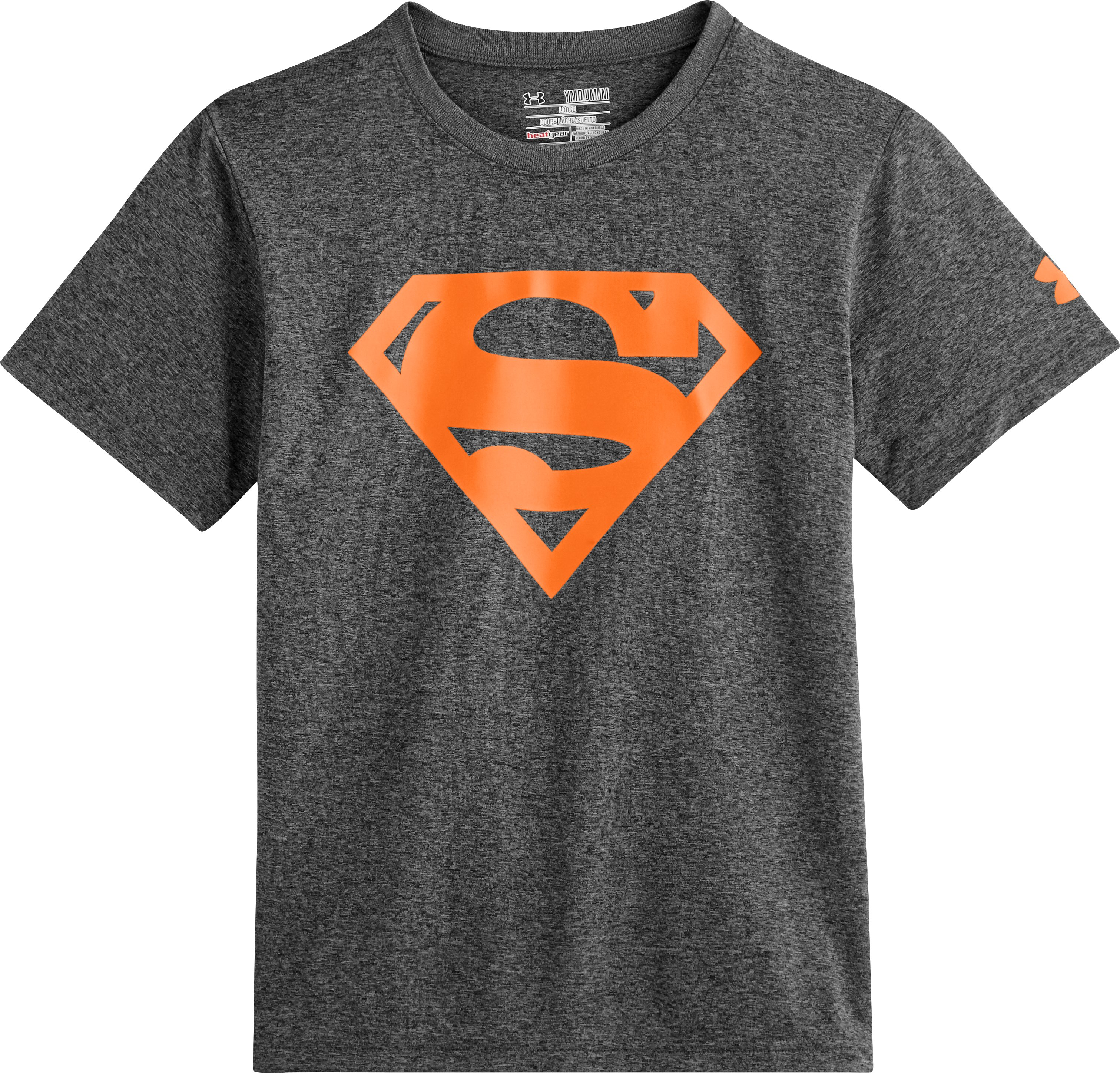 Boys' Under Armour® Alter Ego Superman Neon T-Shirt, Carbon Heather, Laydown